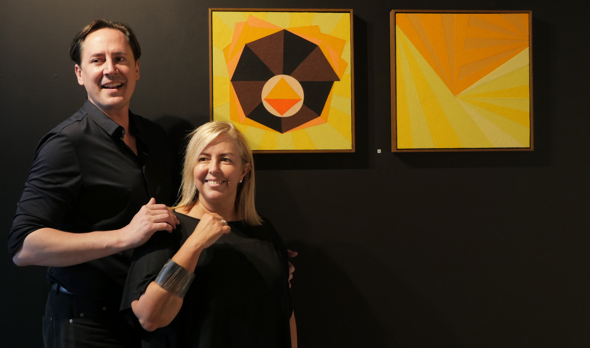 Francesco Cordua (L) and Maria Villa (R) at the  Inside Outside  exhibition opening at  Vandal Gallery