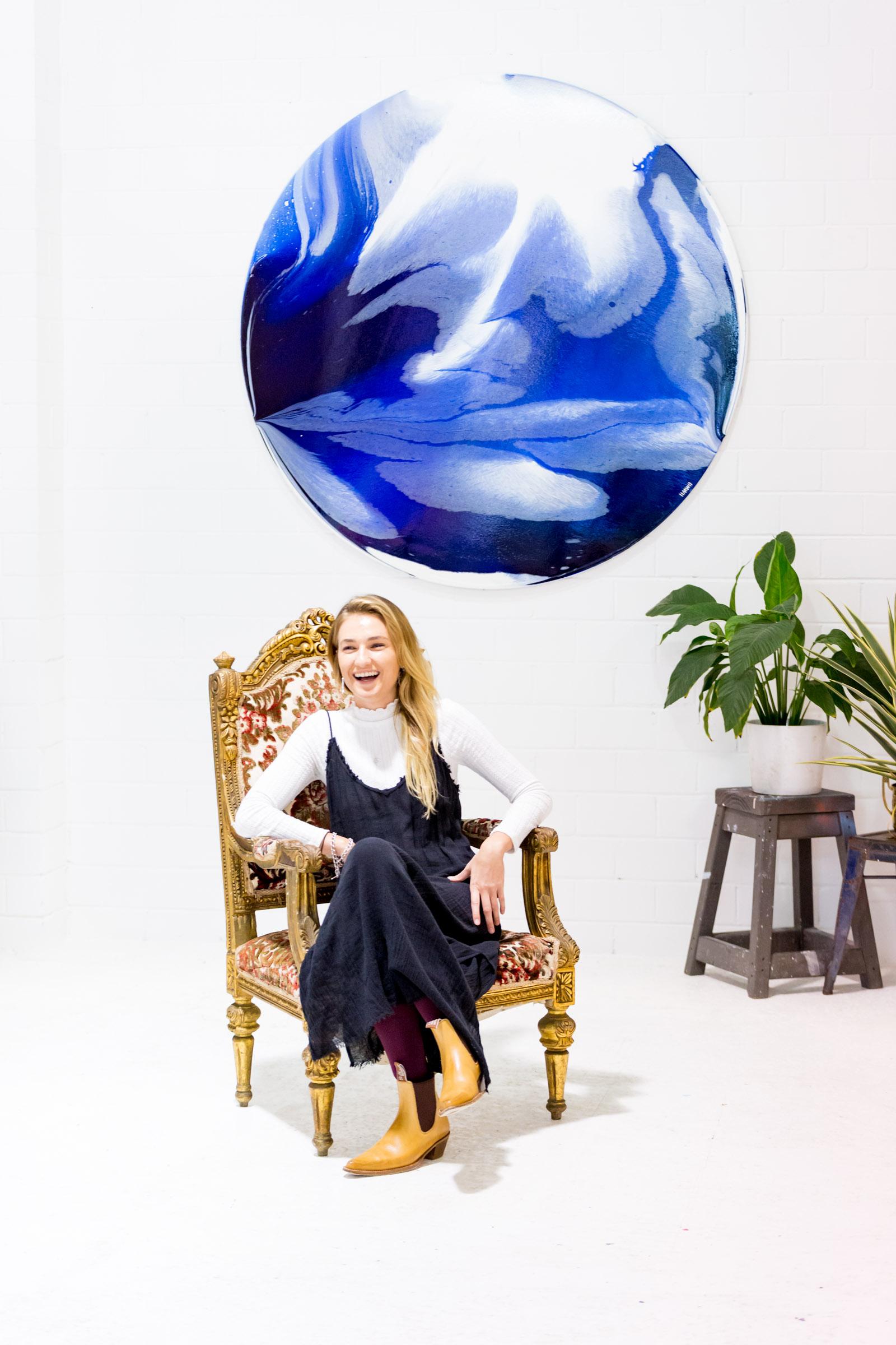Art Pharmacy artist, Ingrid Wilson with her works