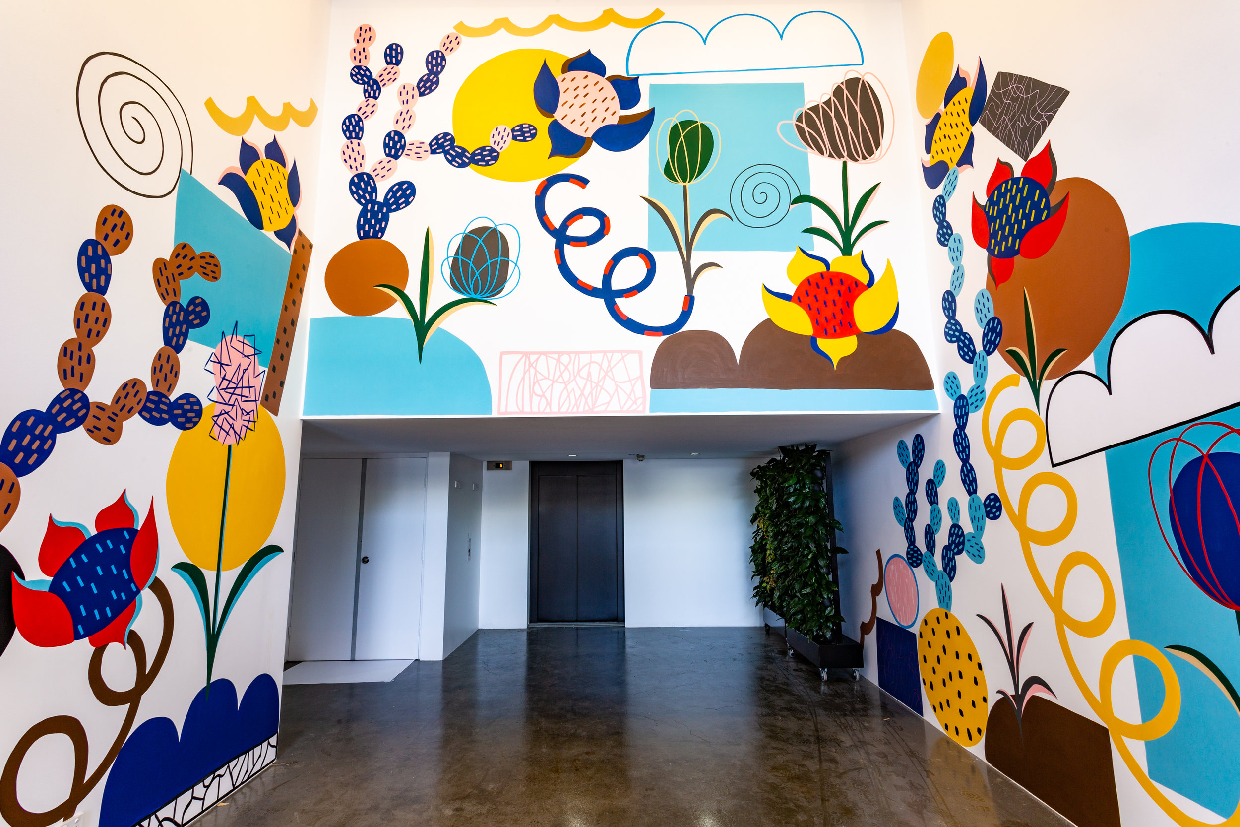 The murals of Micke Lindebergh gave an invigorating energy to Kafnu's new coworking hotel. Credit: Art Pharmacy Consulting