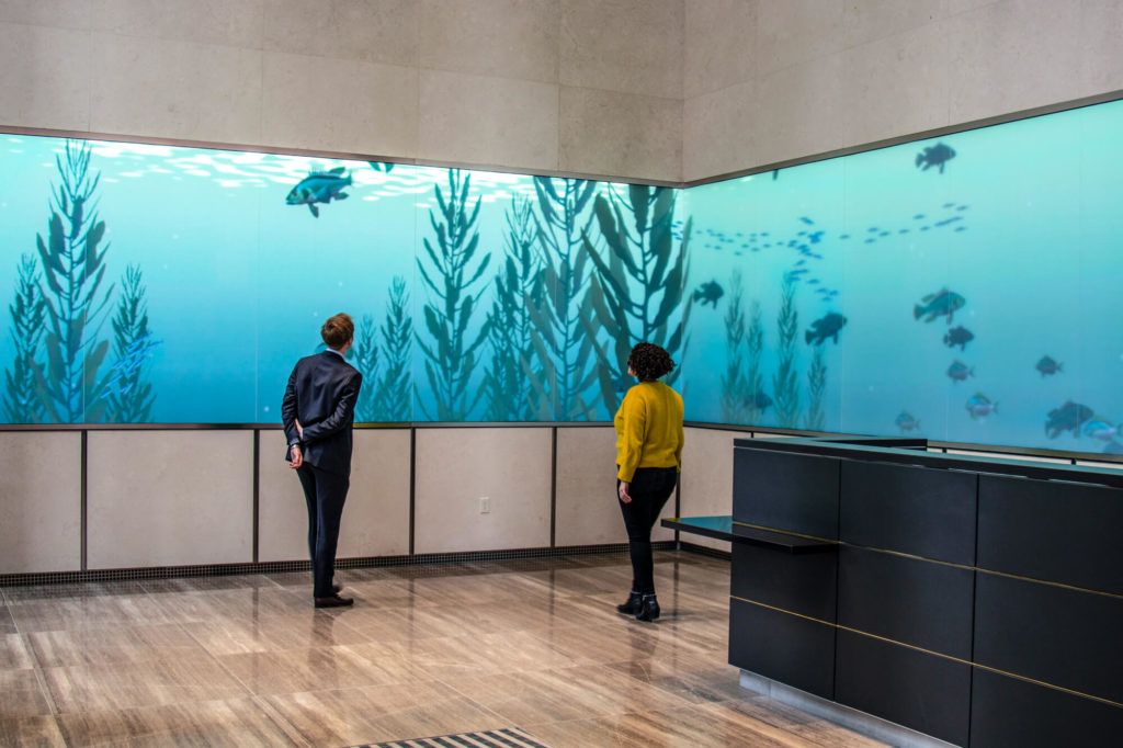 The M edia Band by ESI Design  at 110 Hight Street, Boston, is incredibly engaging. Credit: ESI Design