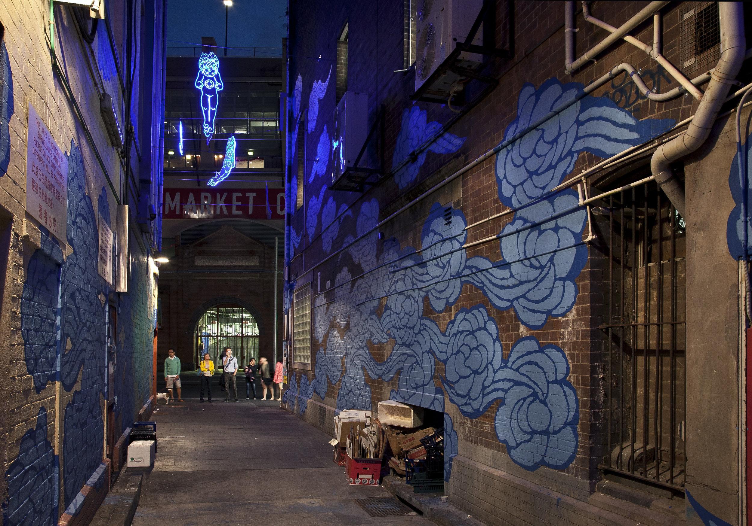 Kimber Lane lit up at night. Image Credit: Art Pharmacy Consulting.