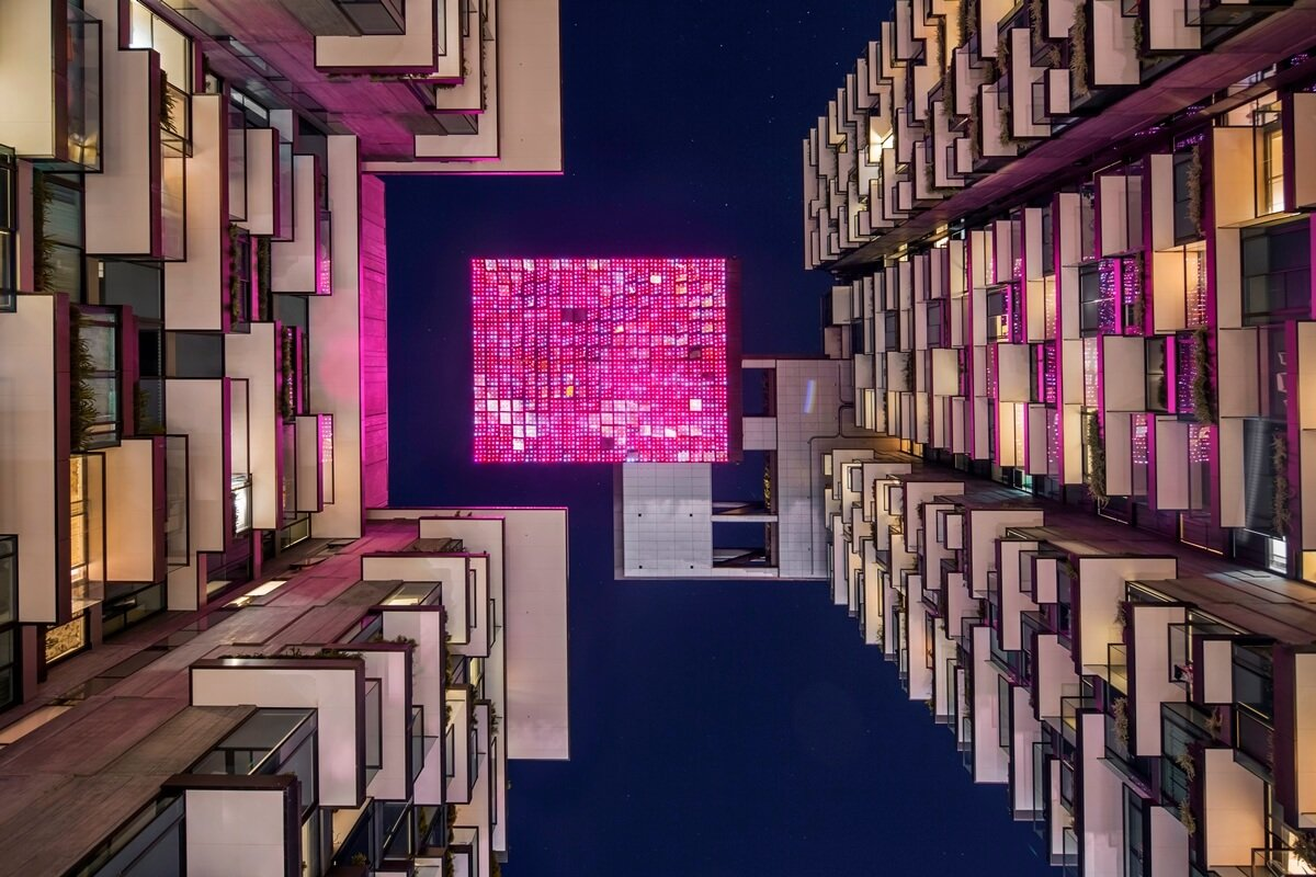 Yann Kersale's Sea Mirror lit up by night. Image Credit:    Tilt Industrial Design