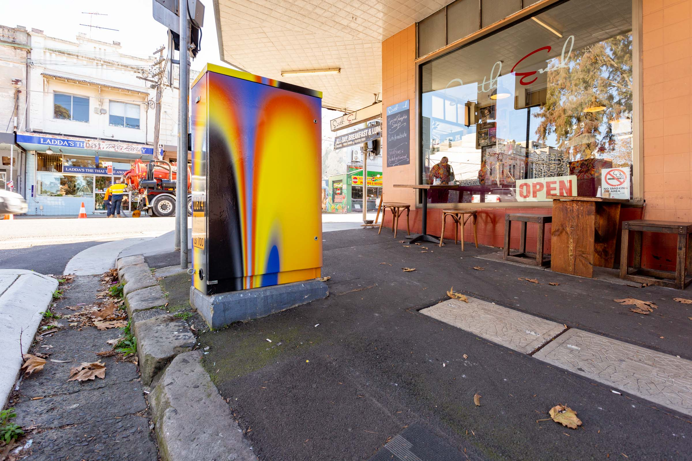 Kris Andrew Small's signal box at King Street and Darley Street. Image Credit: Art Pharmacy Consulting / Jodie Barker