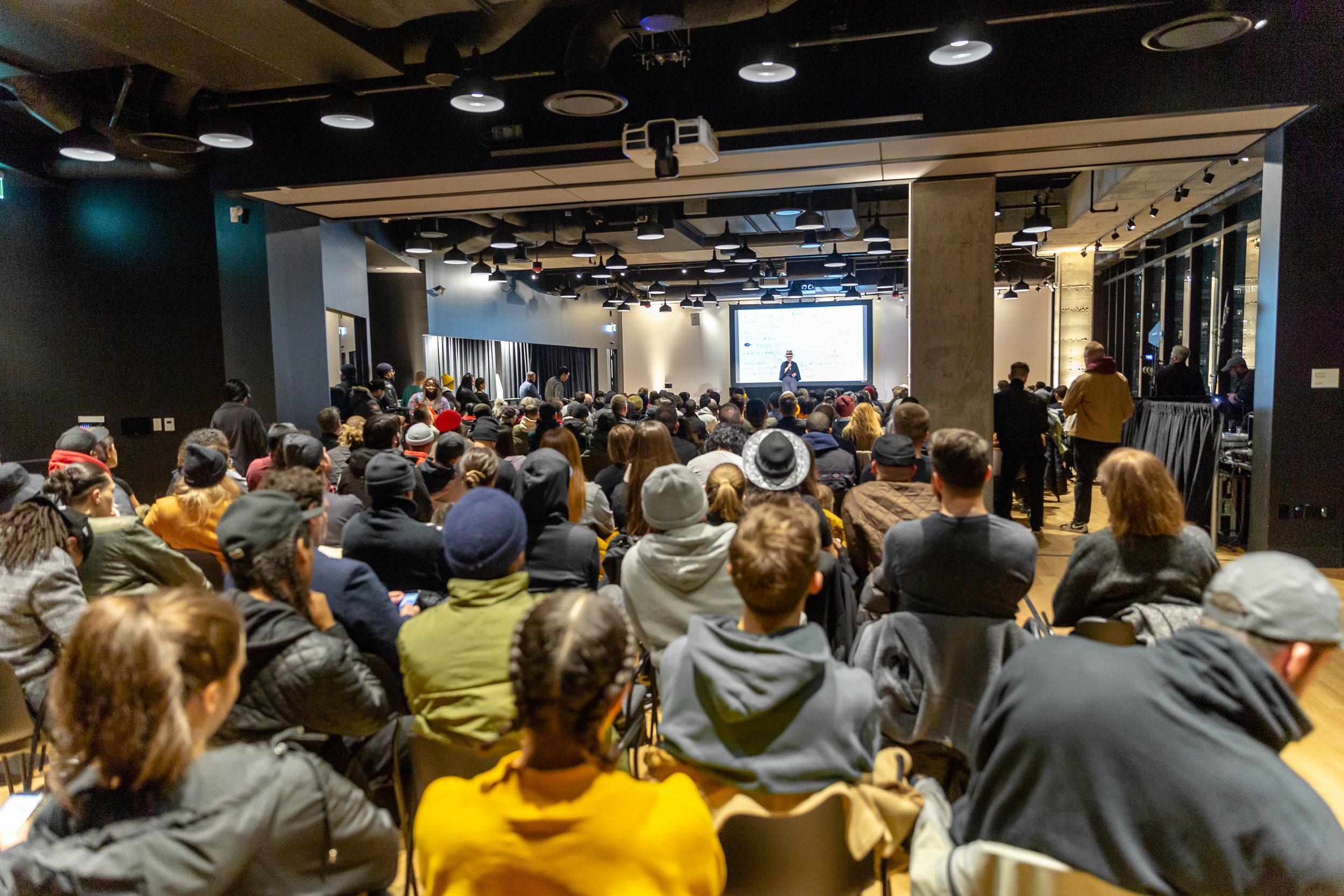 One of the many talks at Daniels Launchpad. Image Credit: Vito Amati / Ryan Emberley / Artscape Daniels Launchpad.