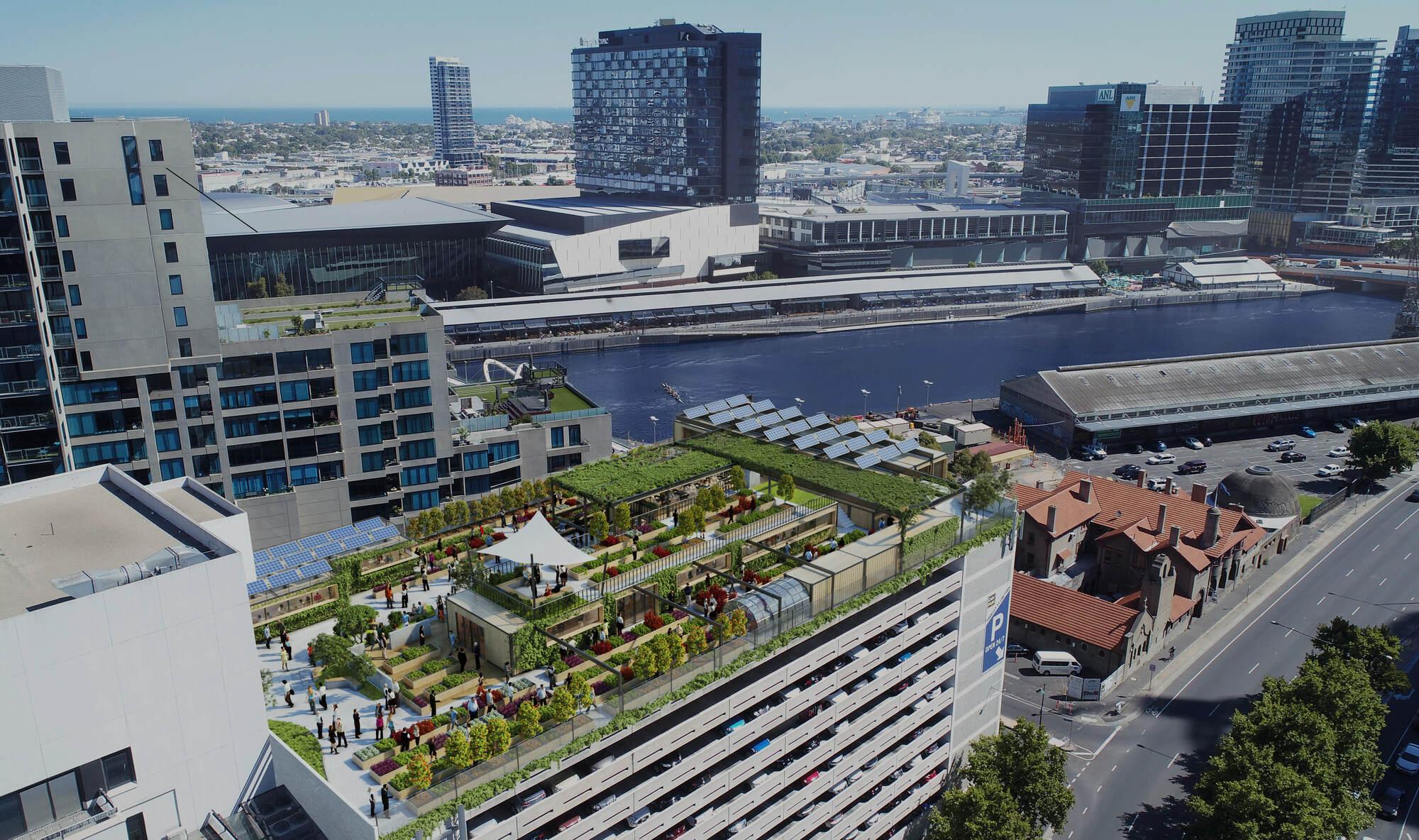 A render of the Skyfarm project in Melbourne. Image Credit:    Skyfarm