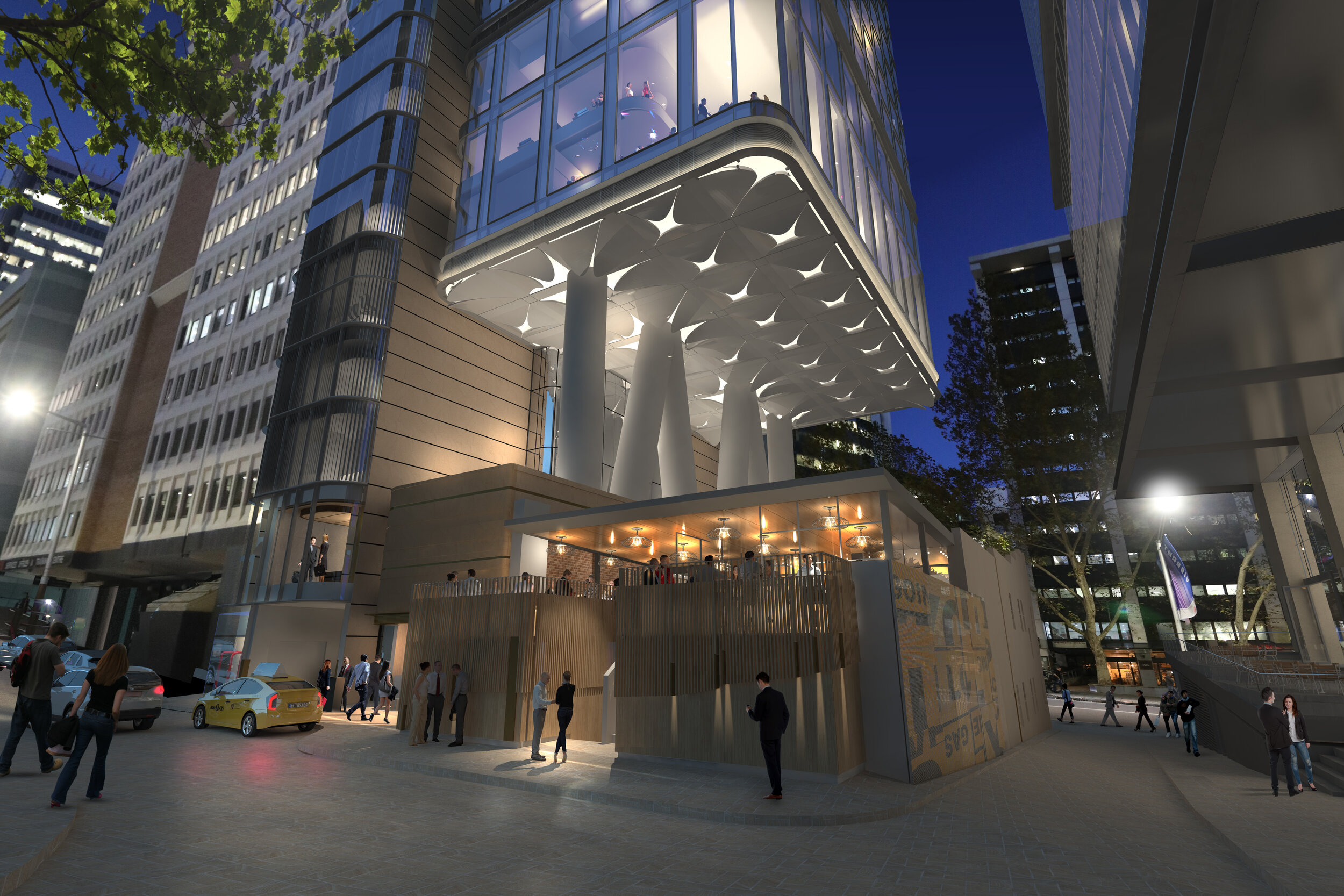 Architects impression of the 88 Walker development. The artwork will sit across the hotel entrance and wrap around into the Spring Street laneway.