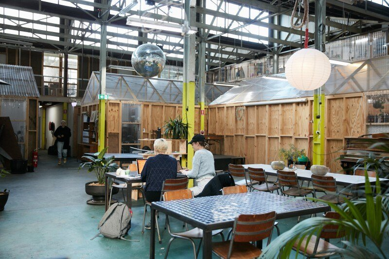 The communal area at School House Projects, based in Collingwood, Melbourne. Image Credit:  School House Projects