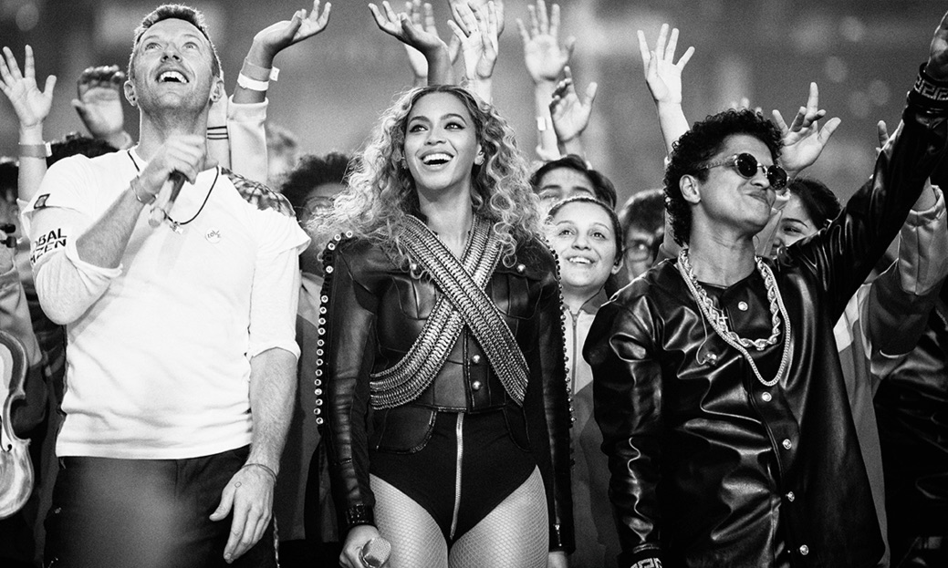 Coldplay (left), Beyonce (center), and Bruno Mars (right) Halftime Superbowl performance
