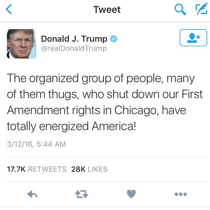 Donald Trump's Response via twitter