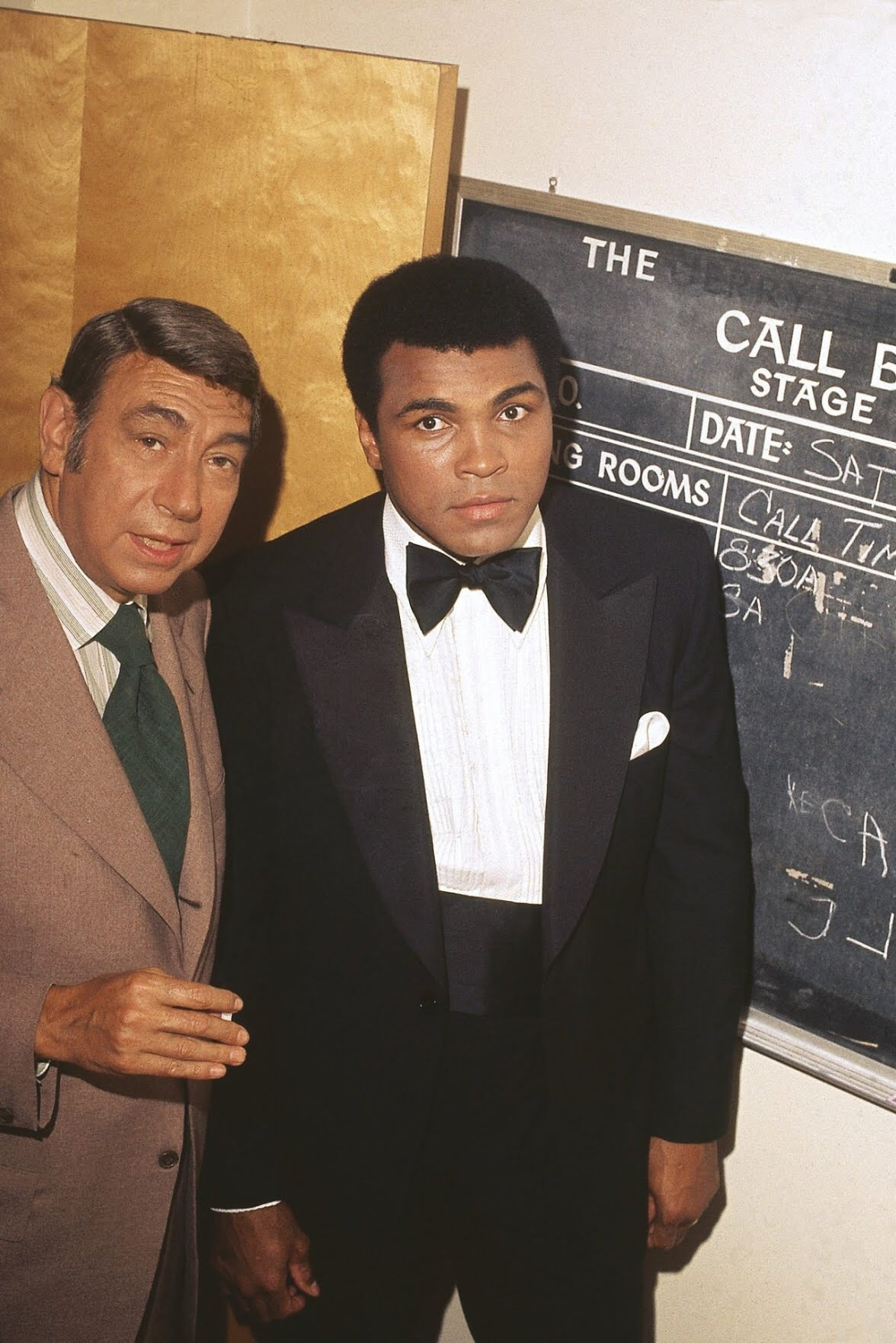 "Isaac Sutton,  Muhammad Ali and the sports journalist Howard Cosell backstage before the taping of ""The Muhammad Ali Variety Special""  (1975). Photo courtesy of Johnson Publishing Company."
