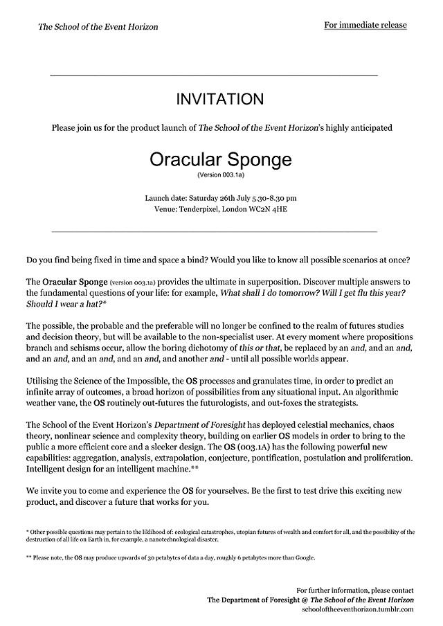 Oracular Sponge, Press Release, 2014