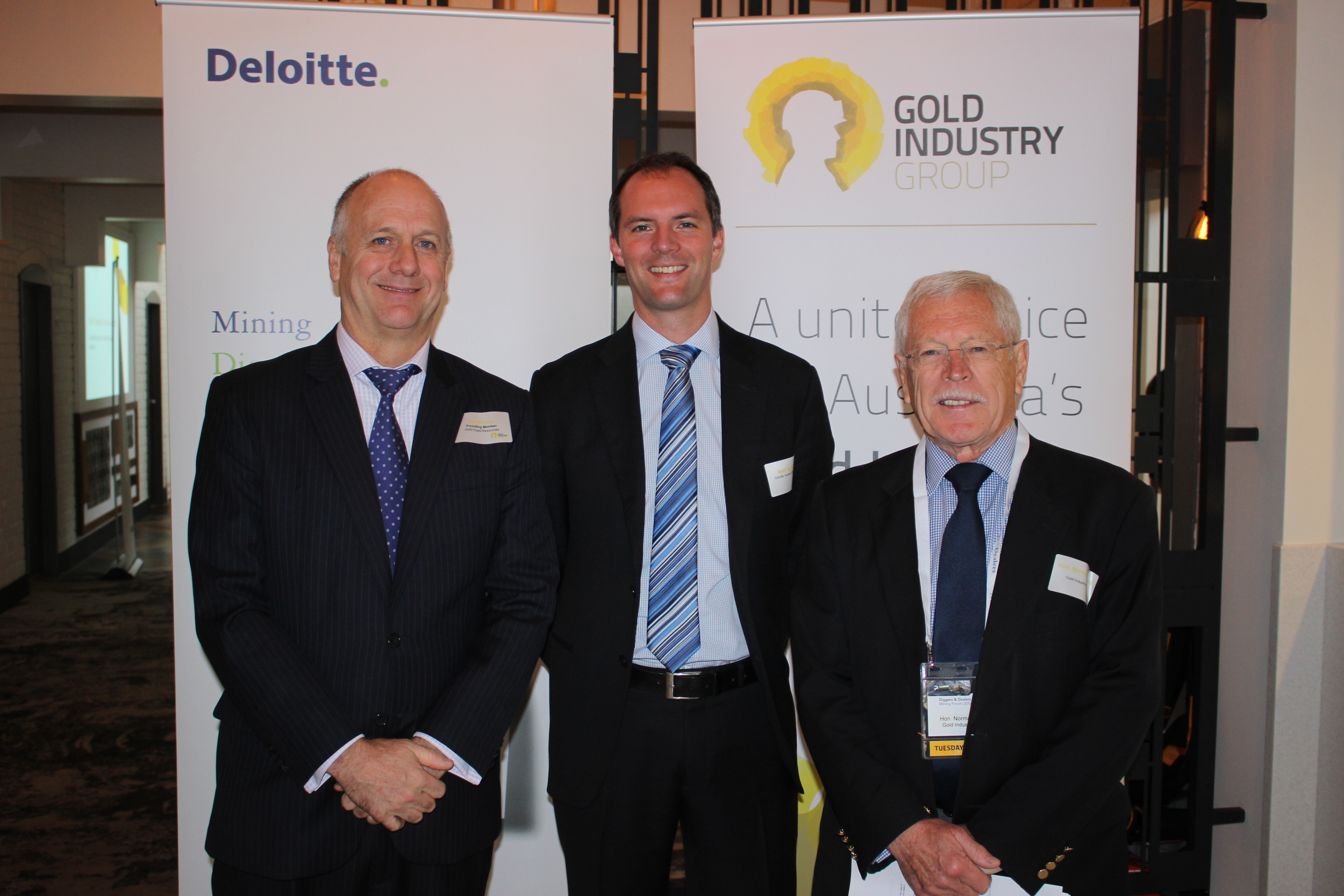 Gold Road Resources' Ian Murray, Deloitte Access Economics Matt Judkins and Chairman of the Gold Industry Group Norman Moore at the launch event which was held at Diggers & Dealers 2015 in Kalgoorlie-Boulder.