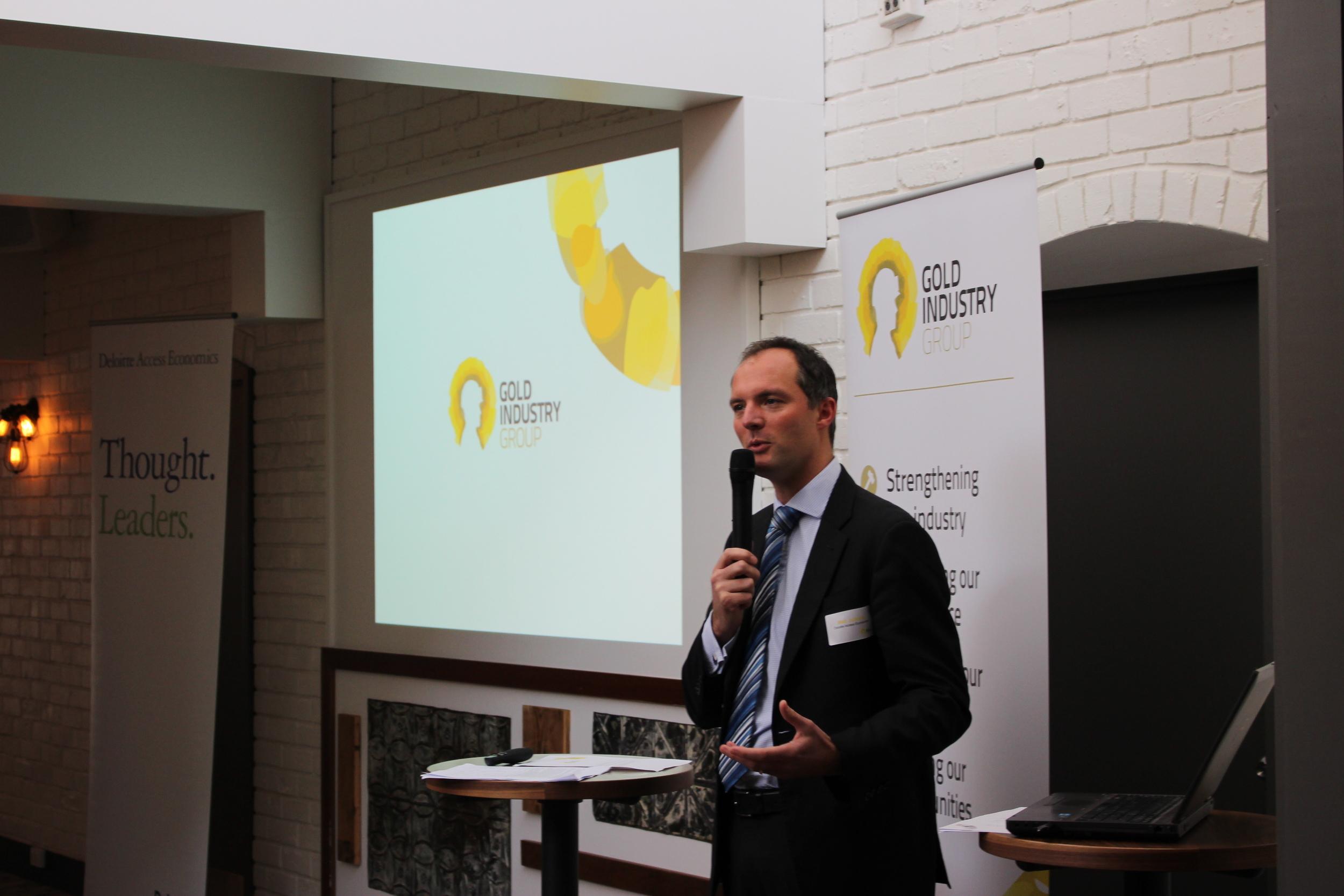 Deloitte Access Economics Partner Matt Judkins presenting a market update at the launch