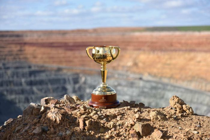 The 2016 Melbourne Cup at the Lake Cowal gold mine, from where the precious metal originated. (Bland Shire Council)