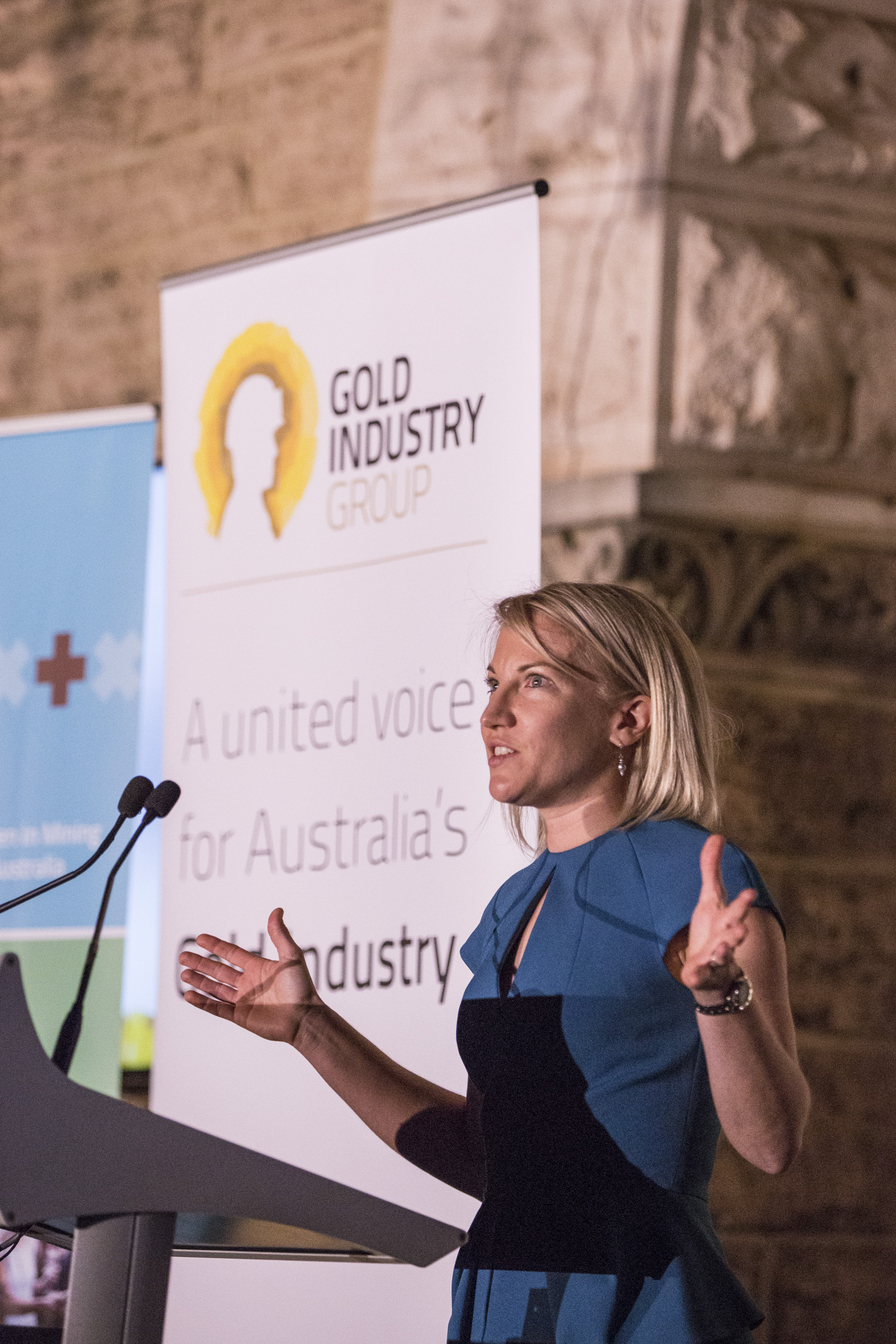 Kelly Carter presenting at the Gold Industry Group's Women in Gold event at The Perth Mint