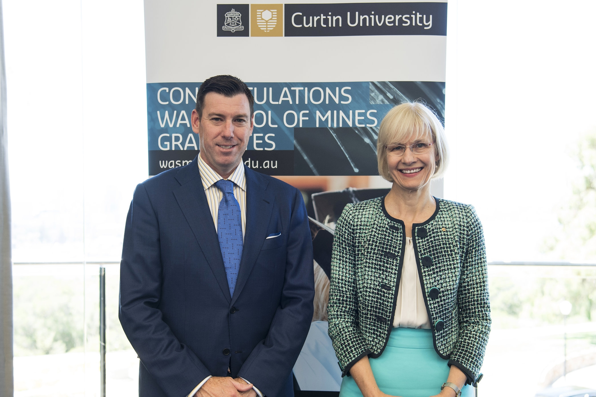 WASMA President Bill Beament and Curtin University Vice-Chancellor Debbie Terry.