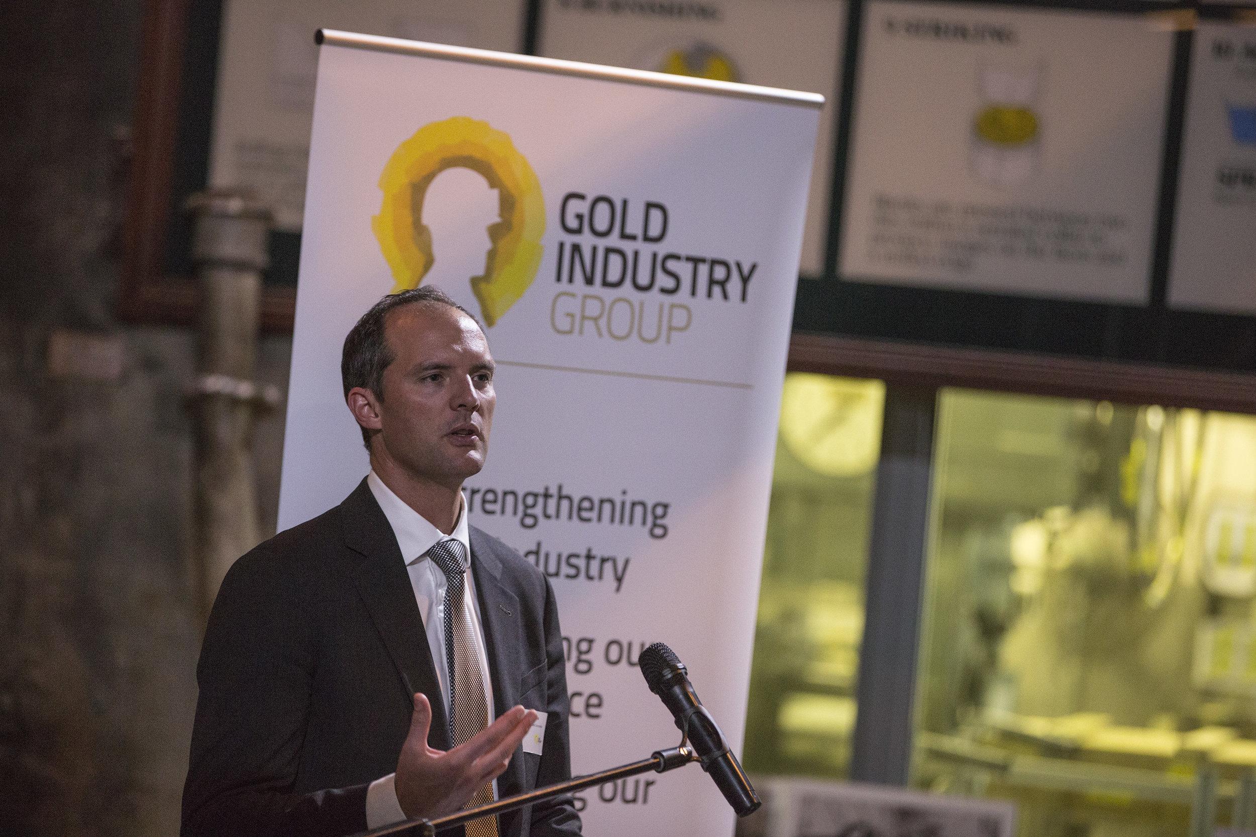 Deloitte Access Economics Partner Matt Judkins speaking at the Gold Industry Group Sundowner