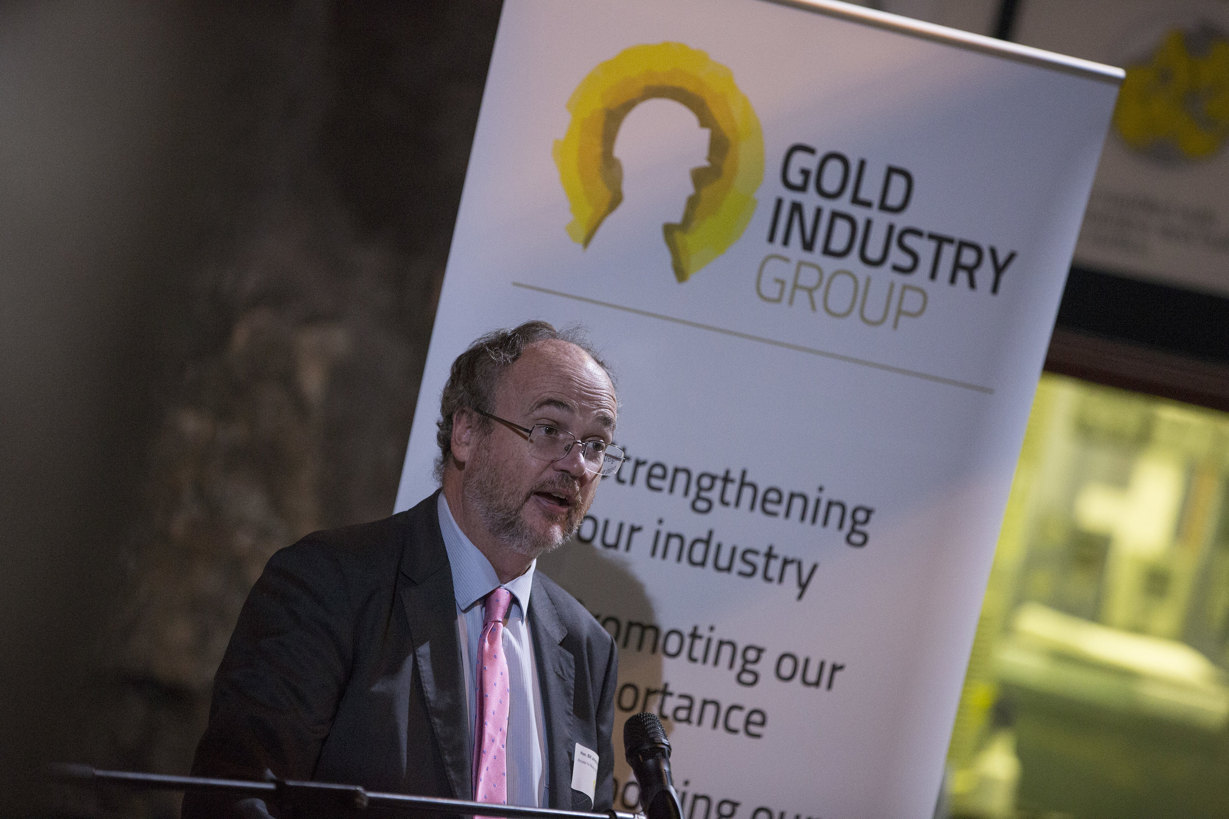 Hon. Bill Johnston MLA addressing members of the gold industry on his commitment to make Western Australia an attractive investment destination