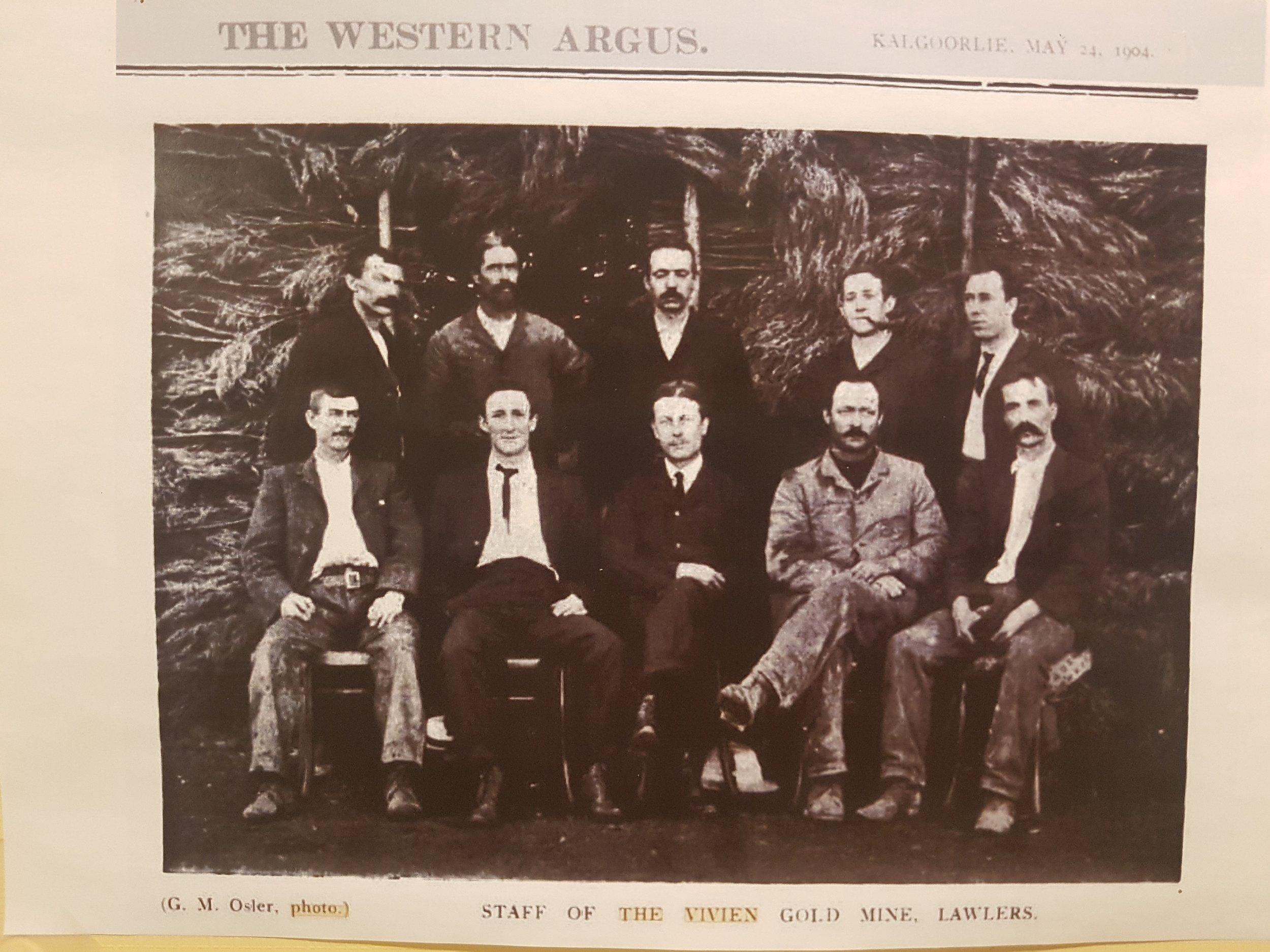 Staff at Vivien Gold Mine in 1904