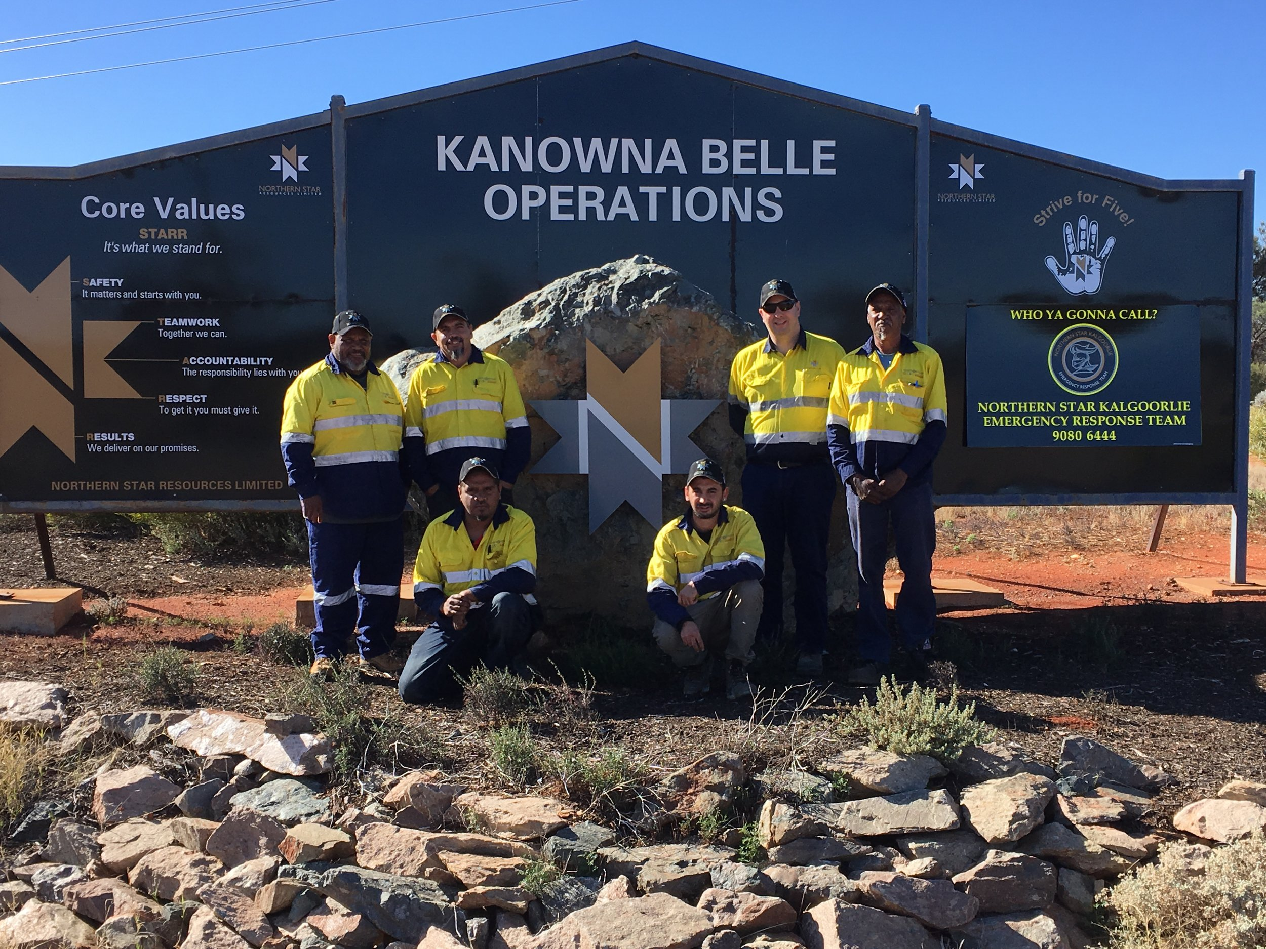 The inaugural Goldfields Land and Sea Council Rangers Team at Kanowna Belle