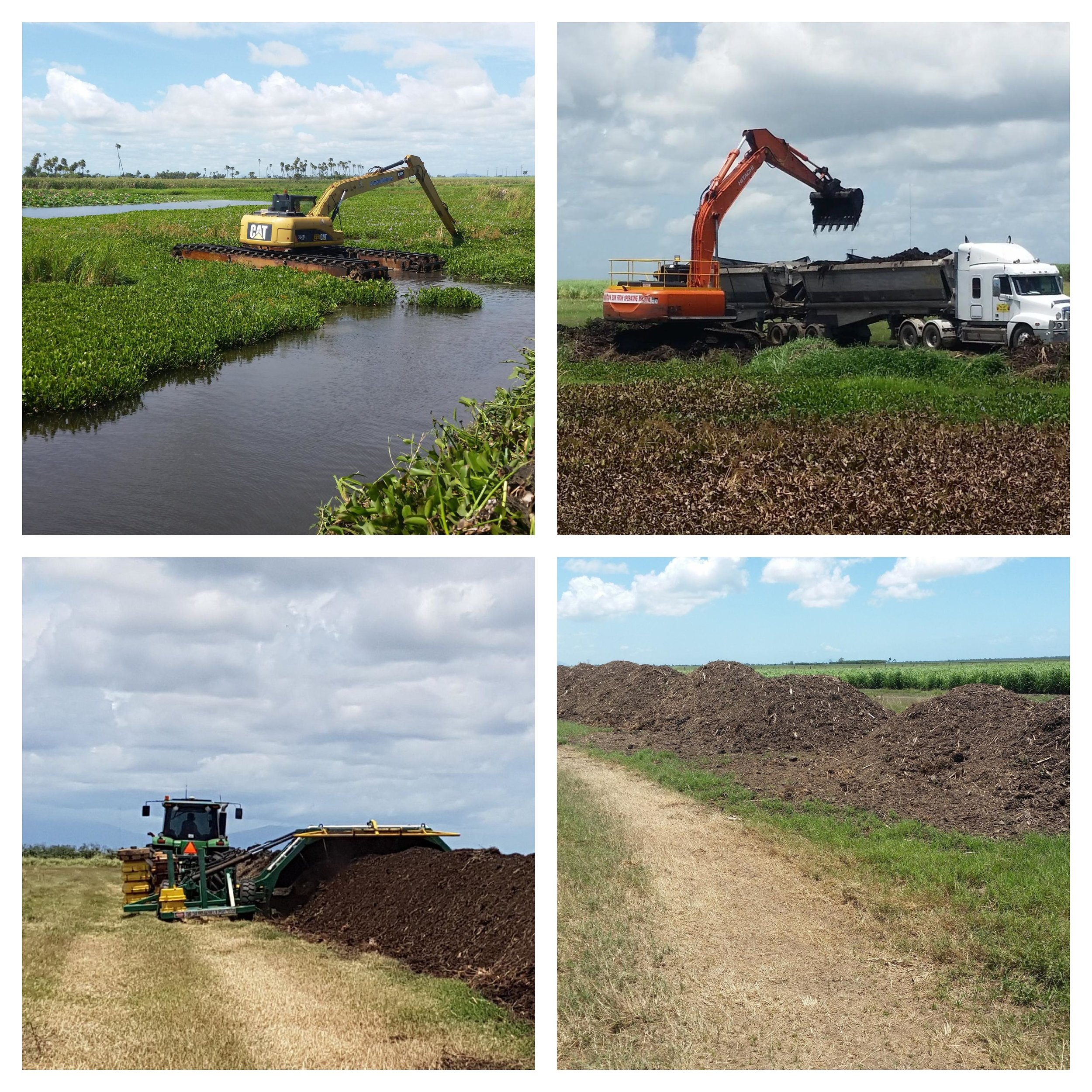 Stages of the aquatic weed removal process.