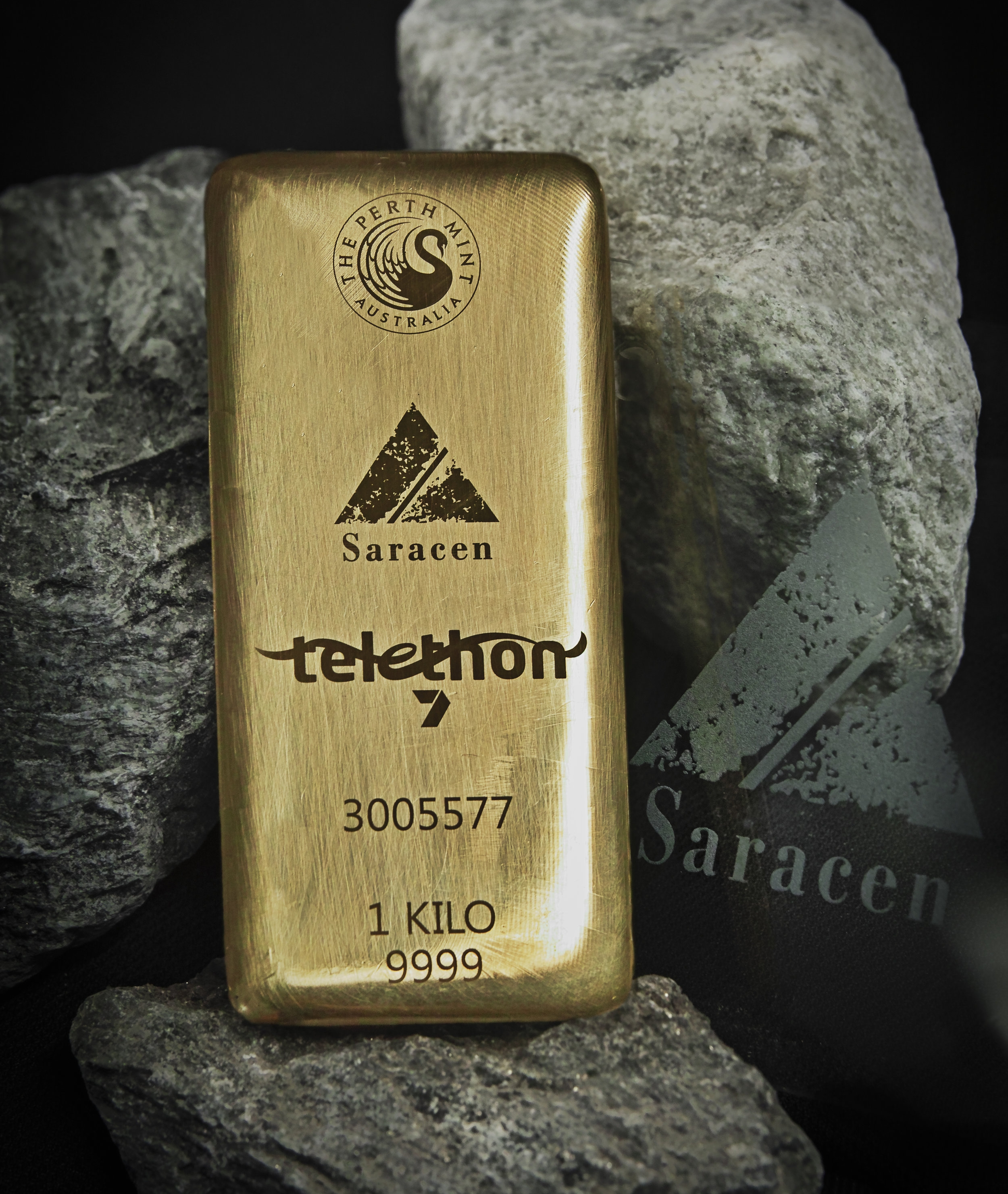 The one-of-a-kind gold bar donated by Saracen Mineral Holdings to Telethon 2018.