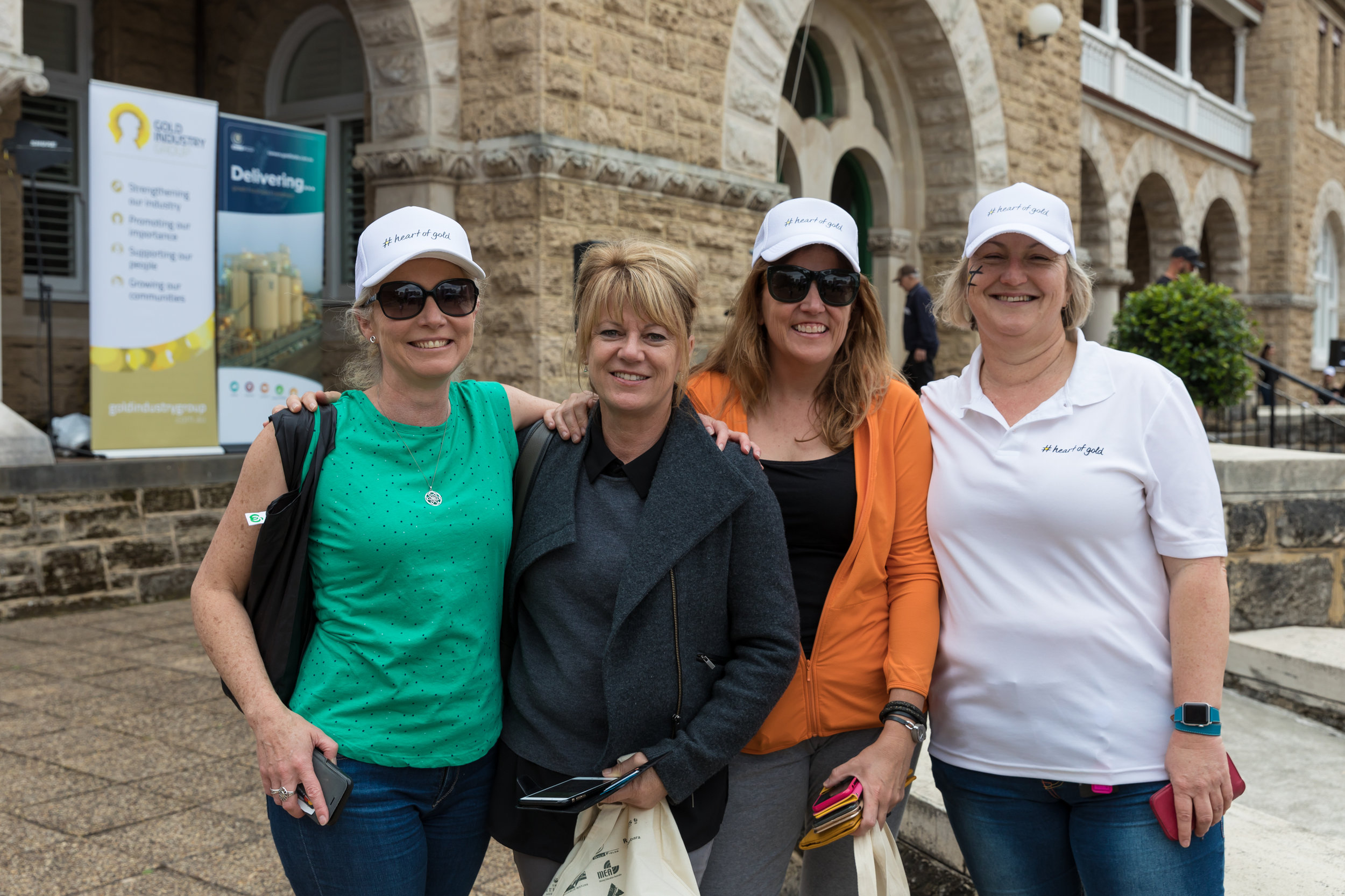 Evolution Mining Group Manager External and Indigenous Relations Anika McManus (on left) with Evolution Mining's Donna Kelly, Liesel Kemp and Saracen's Marianne Dravnieks at the GIG's 2018 #heartofgold Discovery Trail event in Perth.