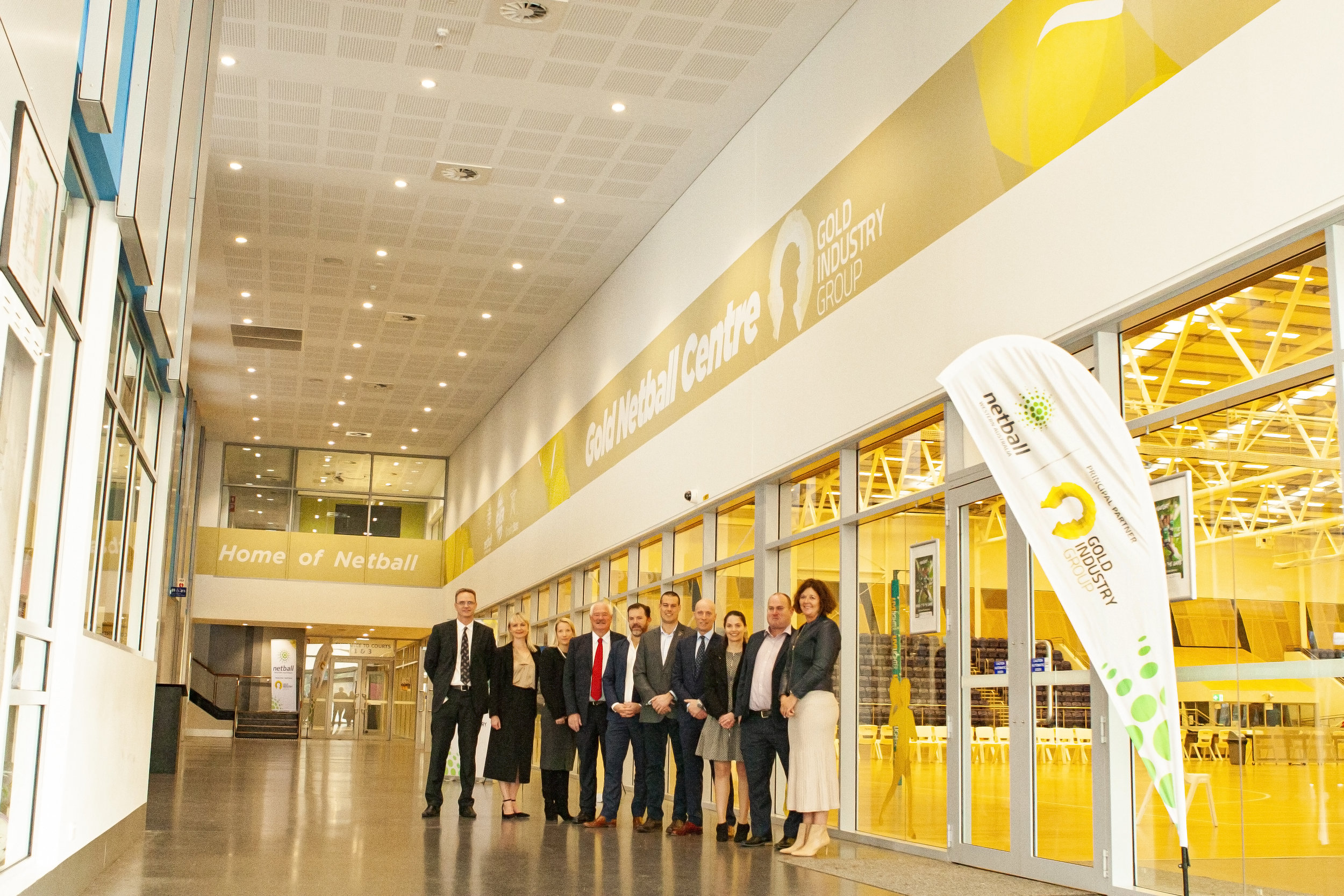 New signage was unveiled at the WA's Gold Netball Centre.