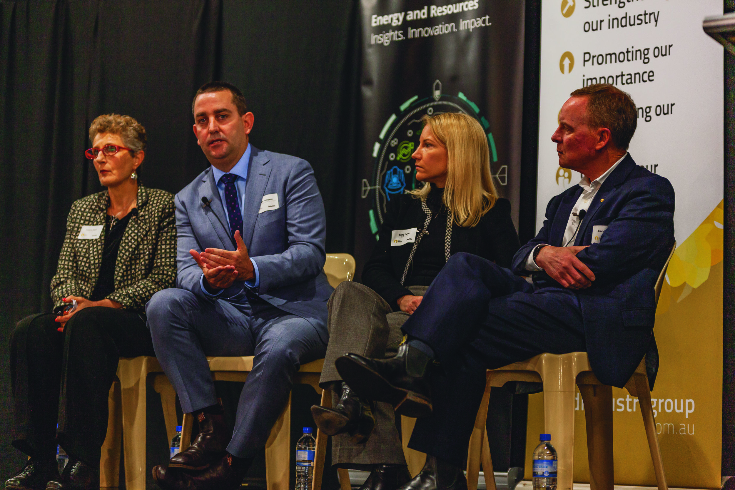 GIG and Deloitte's breakfast panel (L-R), Deloitte Risk Advisory Principal Dr Leeora Black, Saracen Mineral Holdings MD Raleigh Finlayson, GIG Vice Chairperson and Goldfields VP: Legal & Compliance Kelly Carter, and retired Australian Army Lieutenant General David Morrison AO.