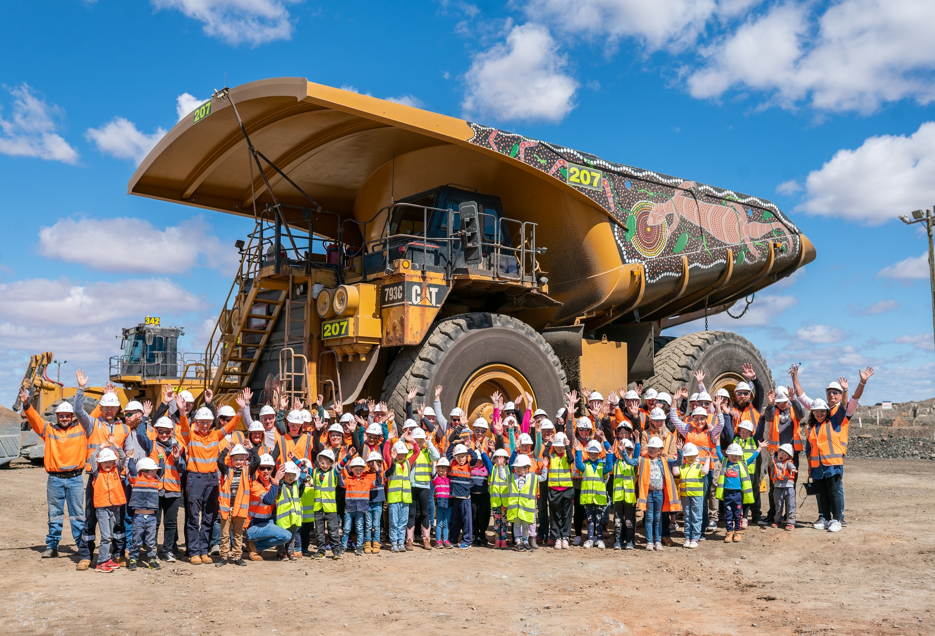 KCGM employees and families with the NAIDOC haul truck at the company's Family Day in September.