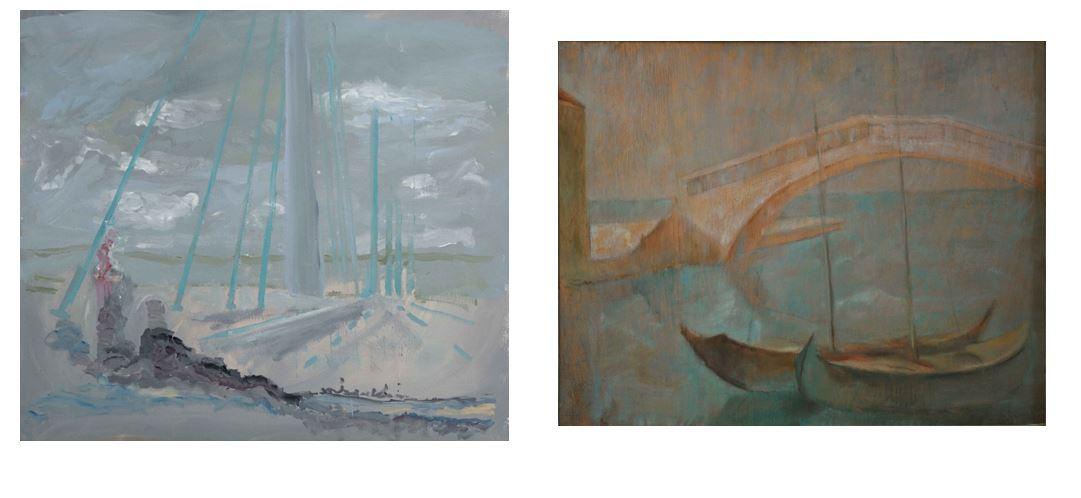 Angelo Mosca,  Sulle macerie , 2013 | Pio Semeghini,  Ponte di Chioggia , 1935. Vicenza, Private Collection.