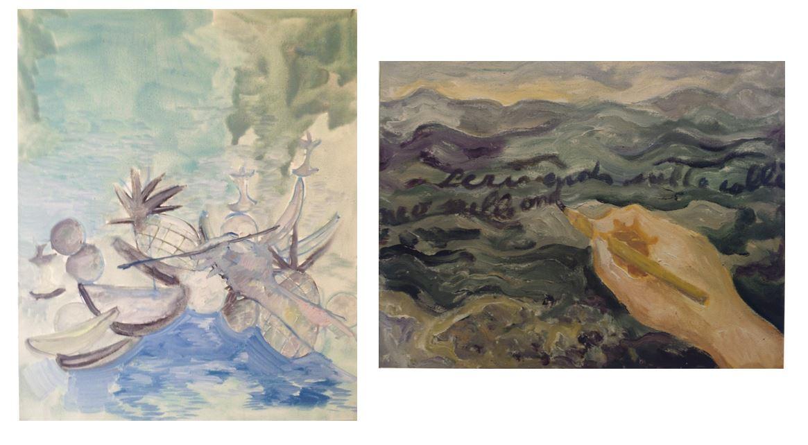 Lorenza Boisi,  Me as Matisse , 2013 | Carlo Levi,  Scrivendo sulle colline , 1975. Rome, Fondazione Carlo Levi.