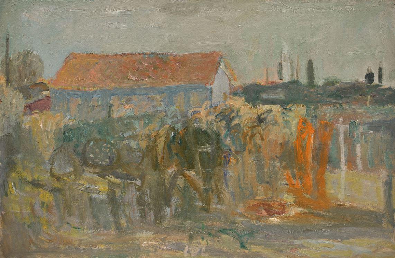 Carlo Dalla Zorza, Casa con campanile di Mazzorbo, 1944. Milan, Galleria Ponte Rosso