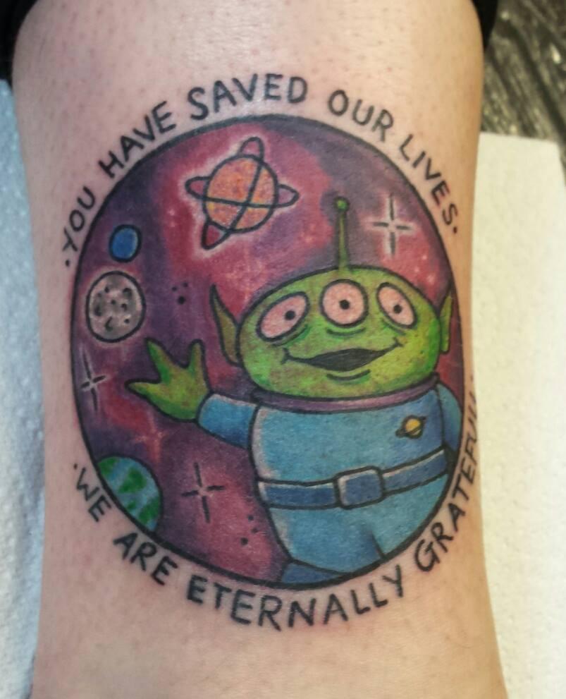 Toy Story Alien: Tattooed by Dan, designed by Abbey.