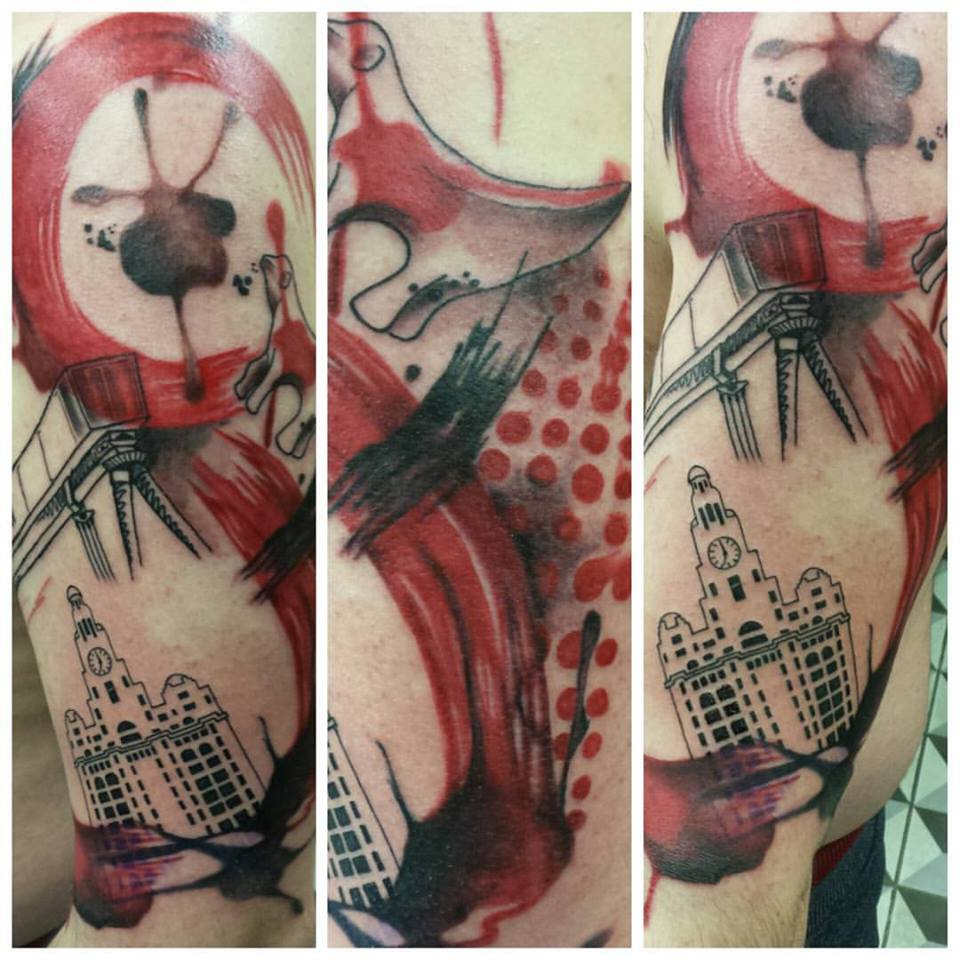 Dan made a cracking start on this Polka trash, Liverpool inspired sleeve. More to come on this one. Dan would love to do more in this style so get in touch if its something you'd be interested in getting.
