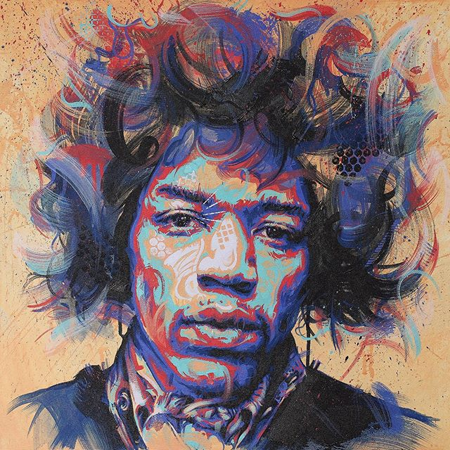 "Tonight @vablab Edinburgh are launching a new exhibition ""Woodstock:50 Years."" I painted this guy who will be showing alongside the work of some awesome artists.  Jimi Hendrix: (60x60cm) acrylic on canvas, 2019  #jimihendrix #jimihendrixart #jimihendrixexperience #woodstock #woodstock50 #edinburgh #edinburghfringe #vablab #MusicArt #Artwork #Art #Artist #MichaelCorrArtist #ContemporaryPainting #ContemporaryArtists #InstaArt #InstaArtist #ArtistsOnInstagram #Painter #Painting #AcrylicPainting #Acrylics #Colours #PortraitArt #exhibition #Fineart #Originalart #Originalartwork [Thanks to @daler_rowney for providing system3 acrylics for this piece #Ad #Gifted]"
