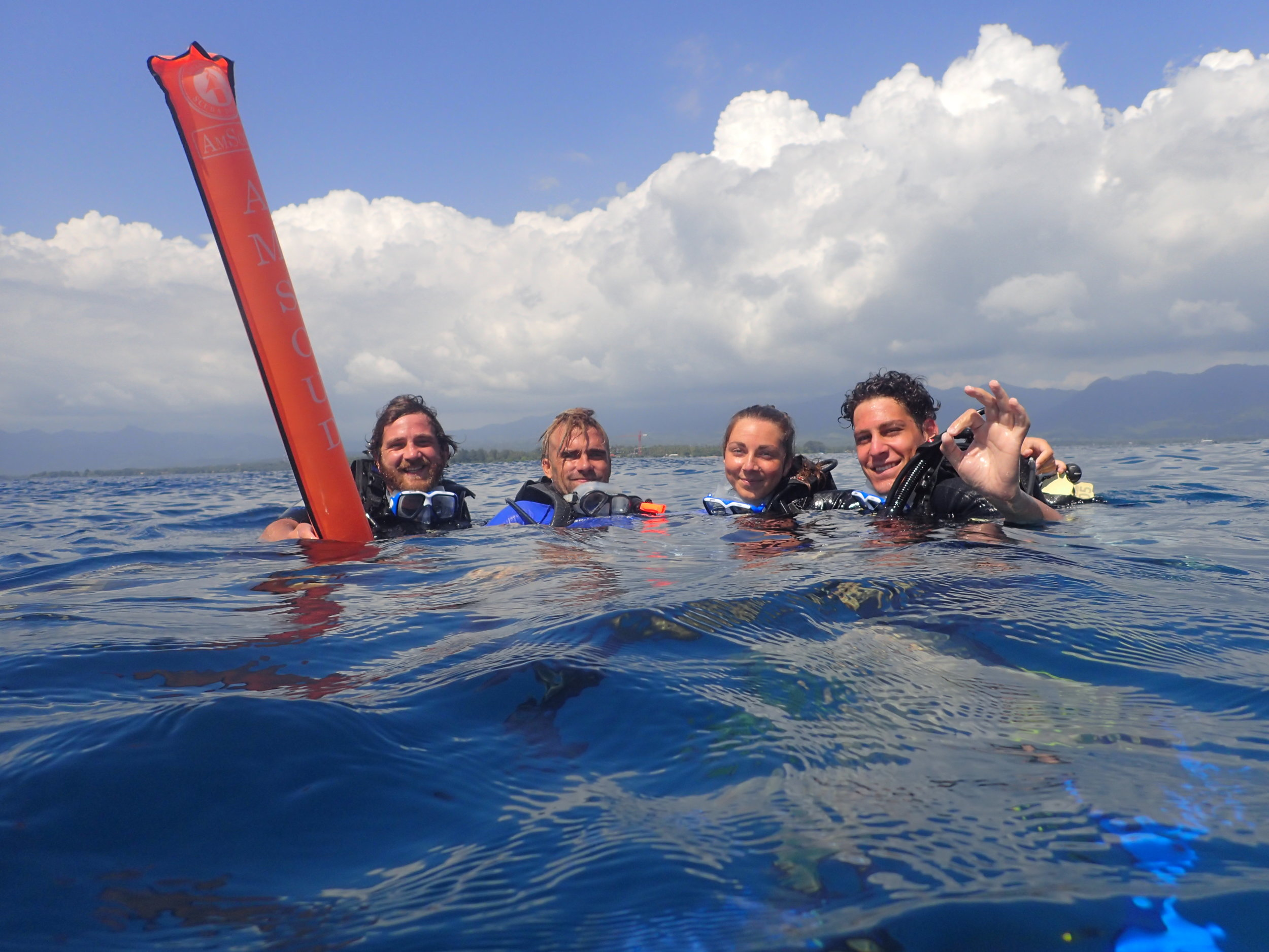 I took this picture showing the joy after almost an hour underwater on a discover scuba