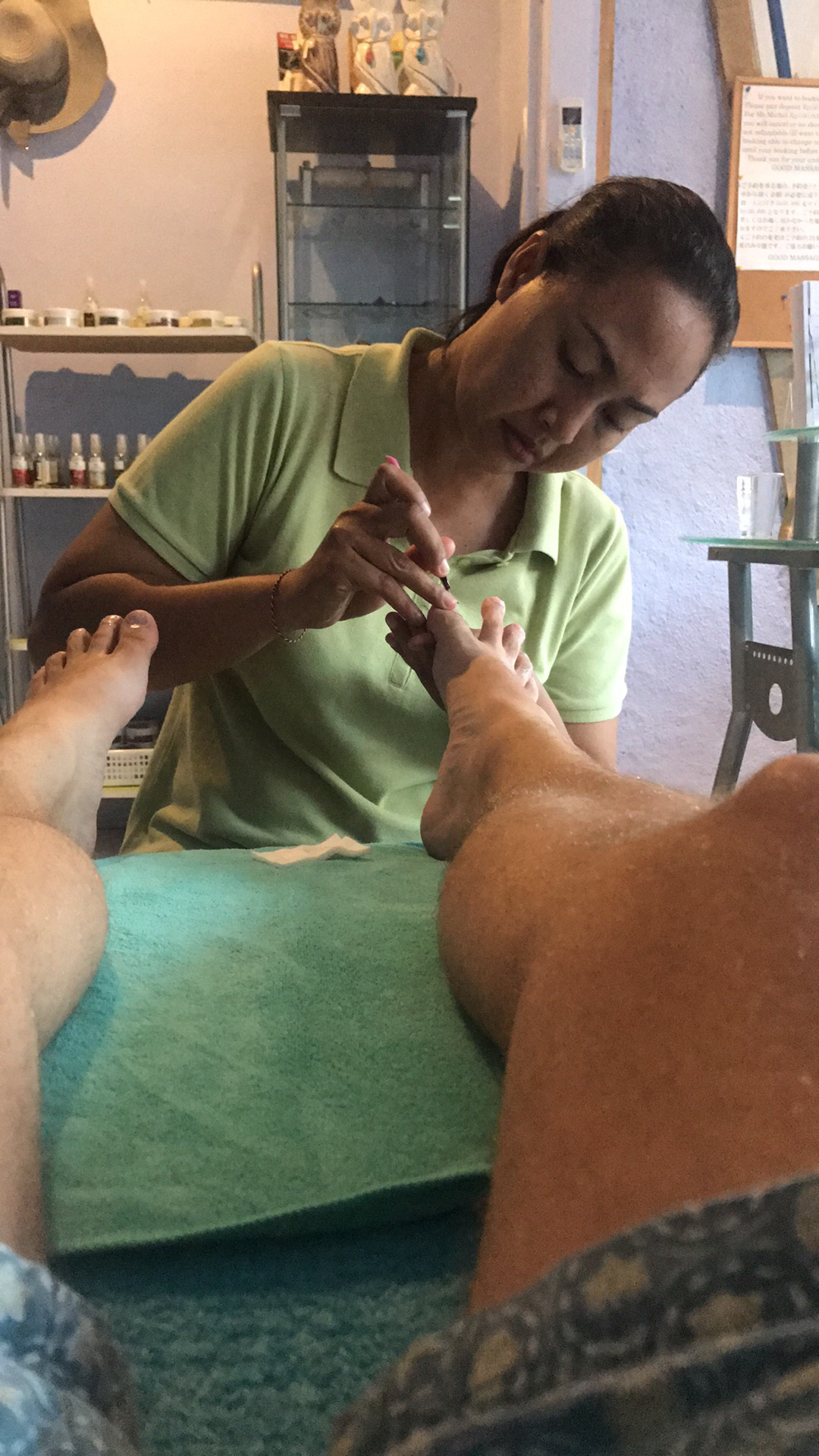 My feet! After the shoeless life on Gili Air they needed work!