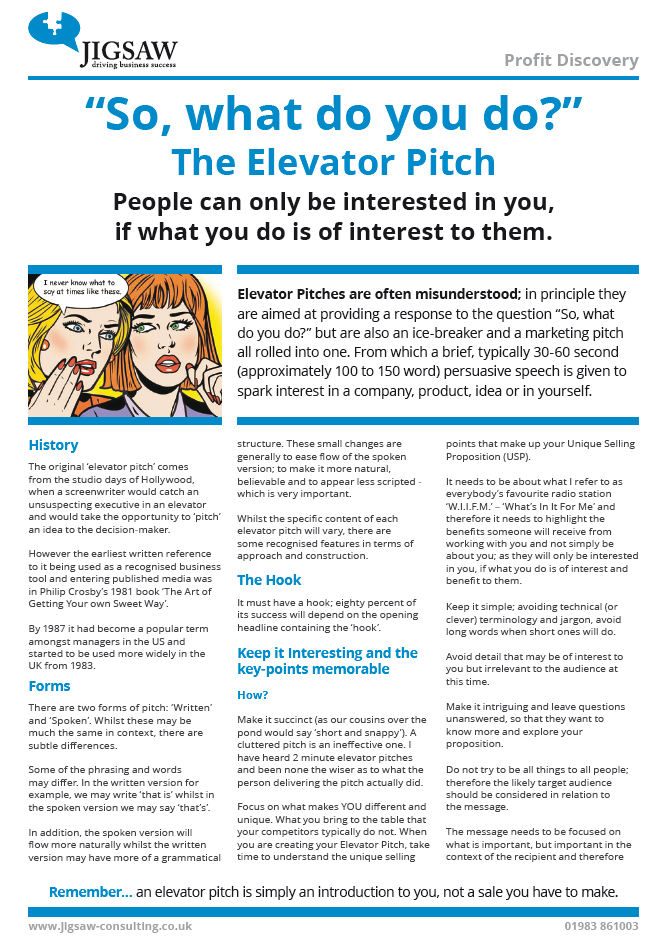 My guide to the perfect 'Elevator Pitch'