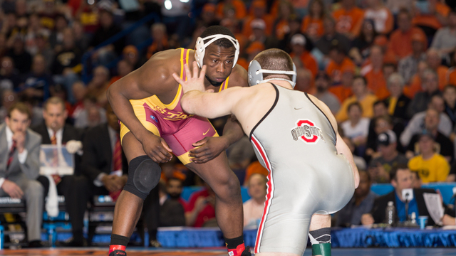 Former Iowa State wrestler Kyven Gadson will try to make the 2016 Olympics by taking part in the Olympic Trials in Iowa City this weekend. Photo courtesy of Iowa State athletic communications