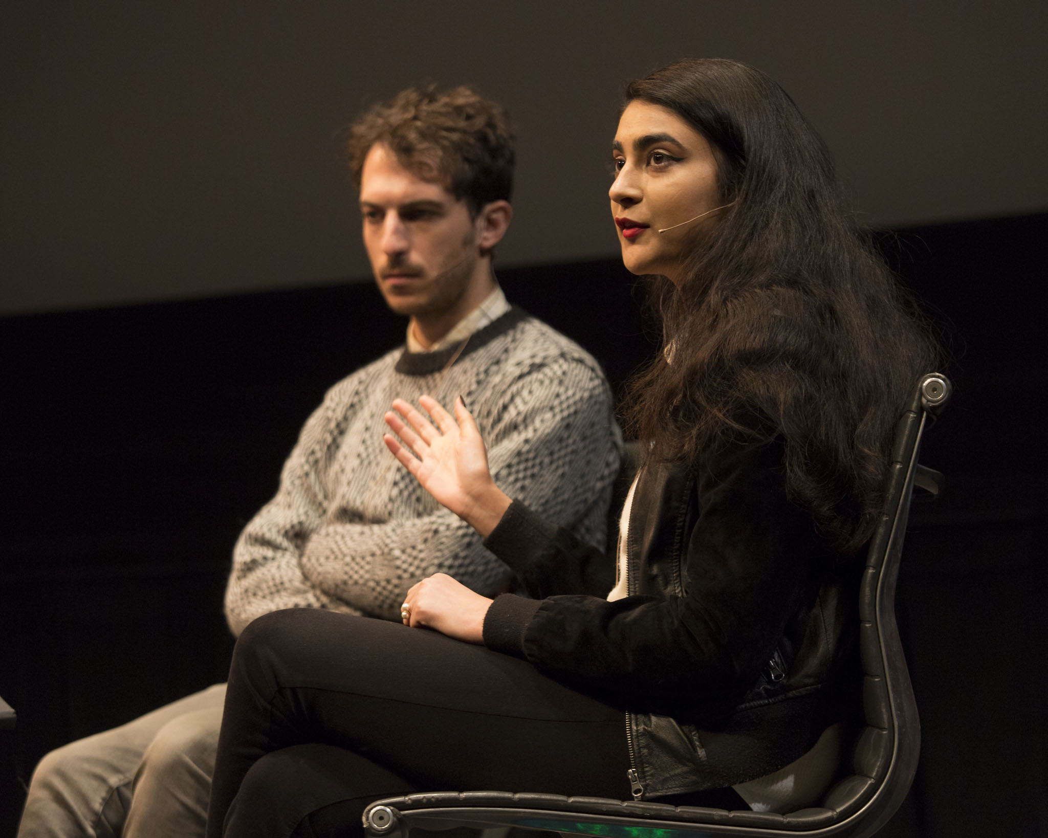 """New Inquiry editor Ayesha Siddiqi with Triple Canopy 's Alexander Provan in the """"Connectivity and Community"""" panel. Photo: Walker Art Center"""
