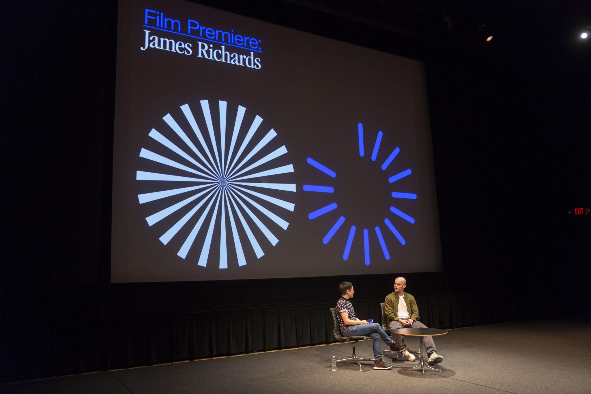 Film scholar Isla Leaver-Yap and artist James Richard discuss his short film,  Radio at Night , which premiered at Superscript. Photo: Walker Art Center