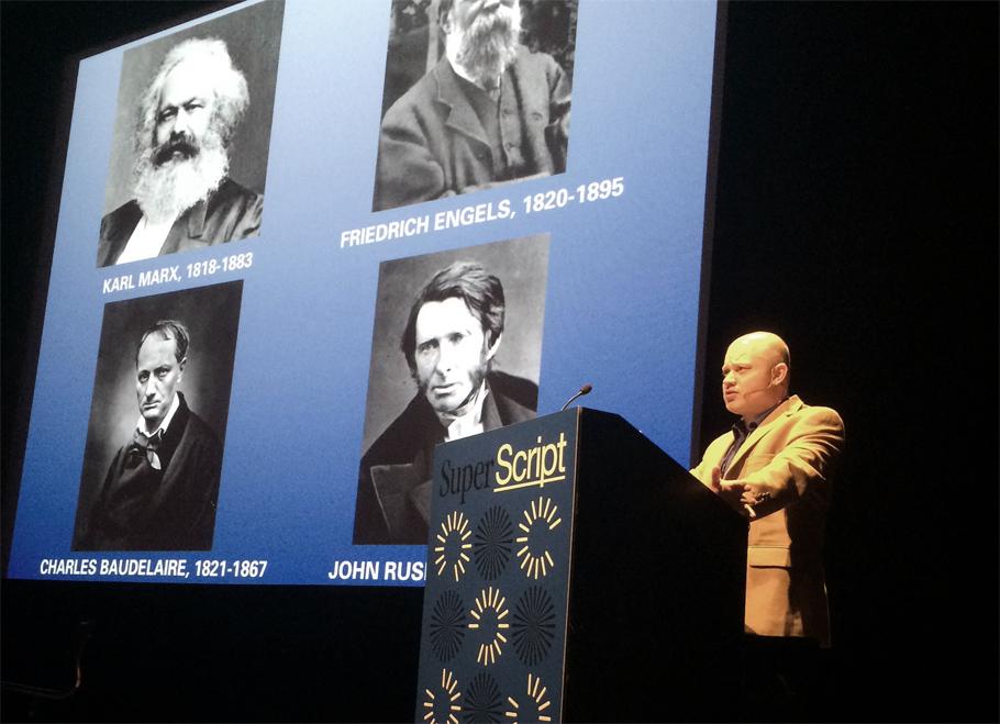 "Critic and author Ben Davis gives his keynote on ""Post-Descriptive Criticism."" Photo: Paul Schmelzer"