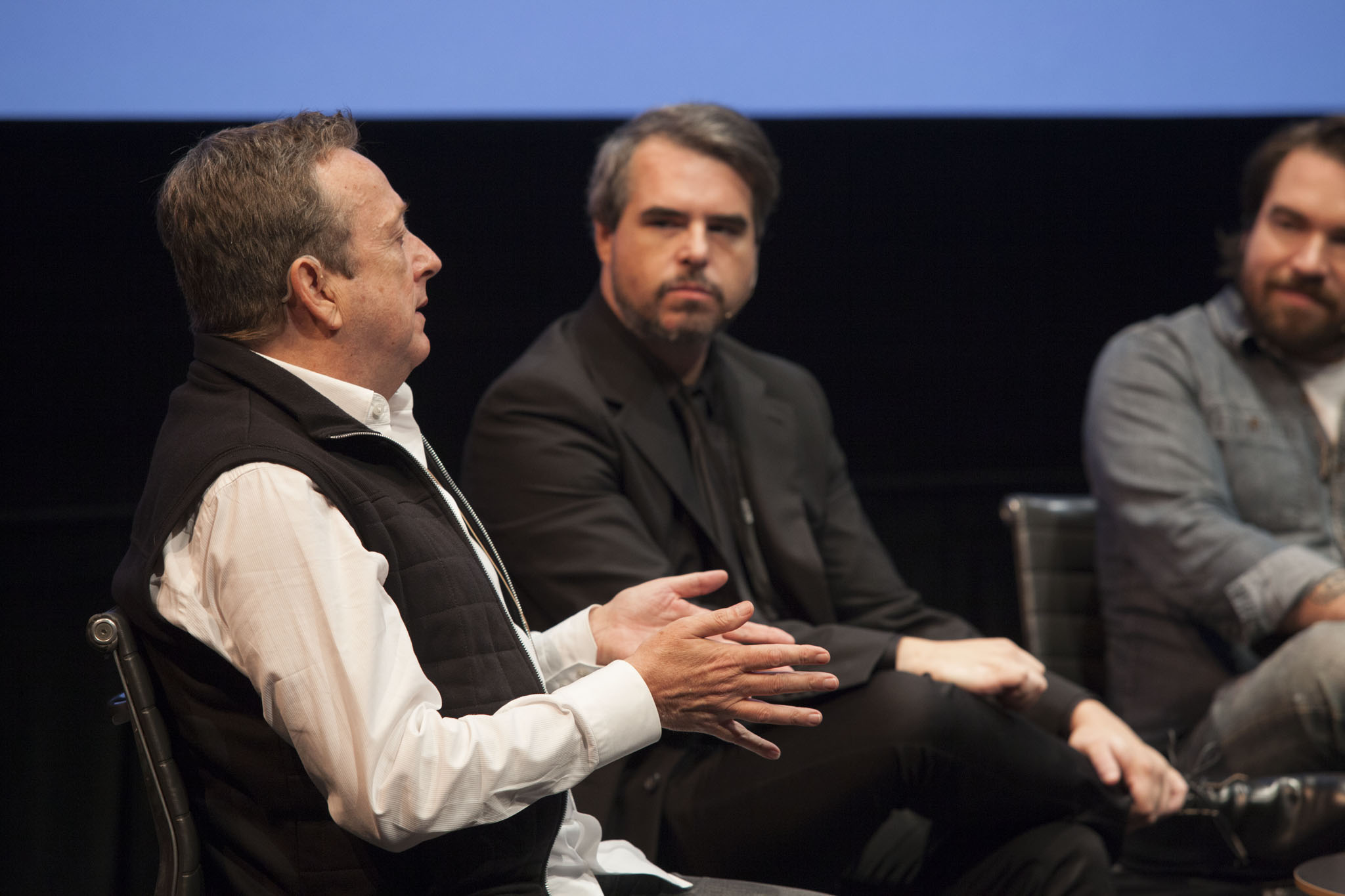"""LA Times  critic Christopher Knight,  Pitchfork  founder Ryan Schreiber, and  Buzzfeed Books  editor Isaac Fitzgerald discuss """"Credibilty, Criticism, and Collusion."""" Not pictured: Rhizome's Orit Gat. Photo: Walker Art Center"""