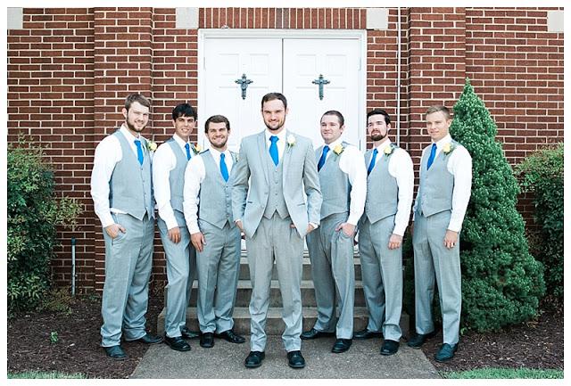 North Shore Chattanooga Wedding, North Shore Fellowship Church, gray tuxedo with royal blue tie