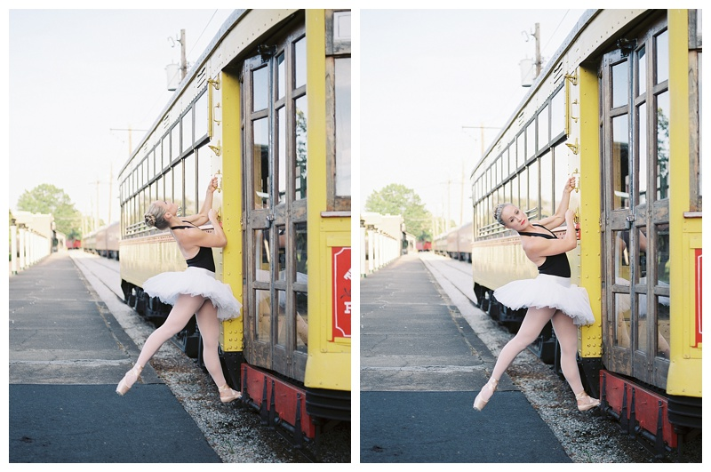 Professional Ballerina on trolley at the Chattanooga Choo Choo