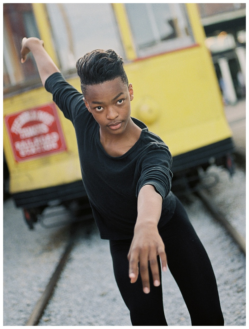 Male dancer on train tracks. Chattanooga Choo Choo ballet photo shoot.