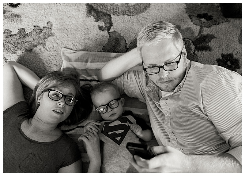 Family with glasses on