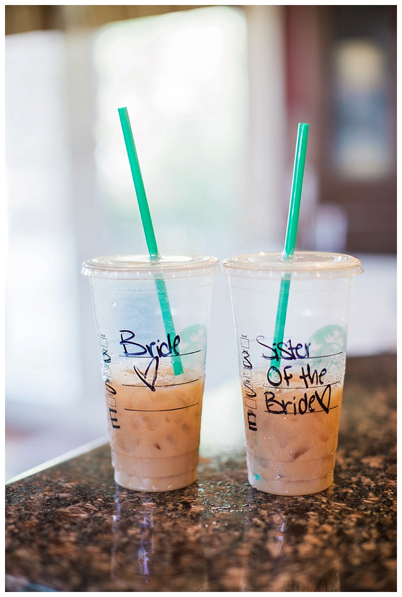 Bride and Bridesmaid Starbucks Drinks
