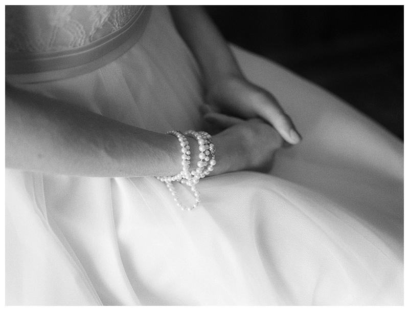 Bridal Jewelry - Pearls from Mother of the Bride and Mother of the Groom wrapped around wrist.